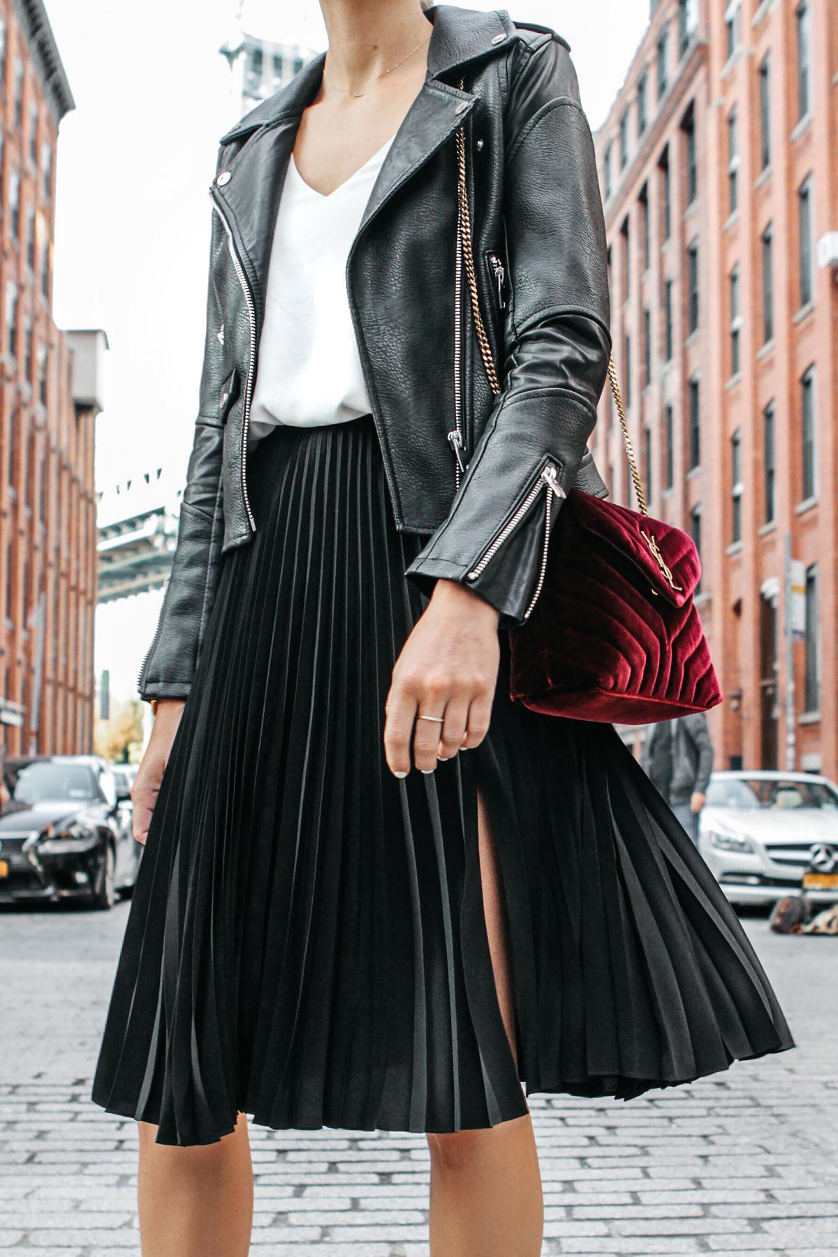 Black Leather Jacket Black Pleated Midi Skirt Saint Laurent Burgundy Velvet Bag Fashion Jackson Dallas Blogger Fashion Blogger Street Style NYFW Dumbo Bridge