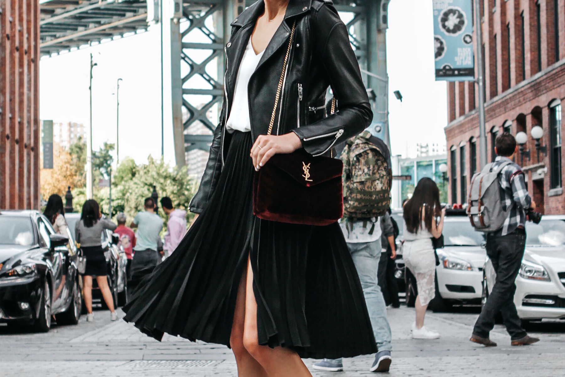 e06e77fc9d99 Black Leather Jacket Black Pleated Midi Skirt Saint Laurent Burgundy Velvet  Bag Fashion Jackson Dallas Blogger