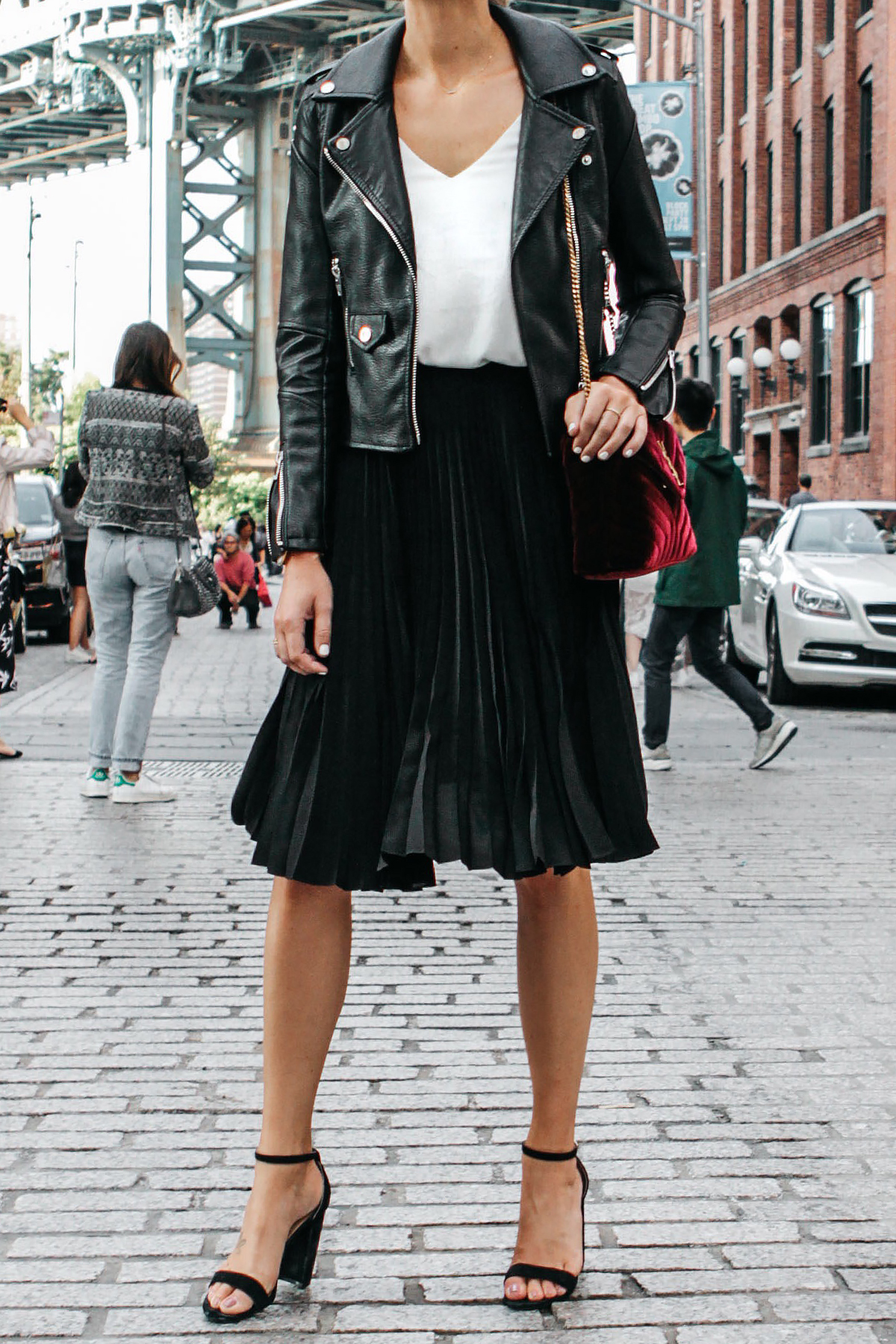 9cc33d67c848 Black Leather Jacket Black Pleated Midi Skirt Saint Laurent Burgundy Velvet  Bag Black Ankle Strap Heeled