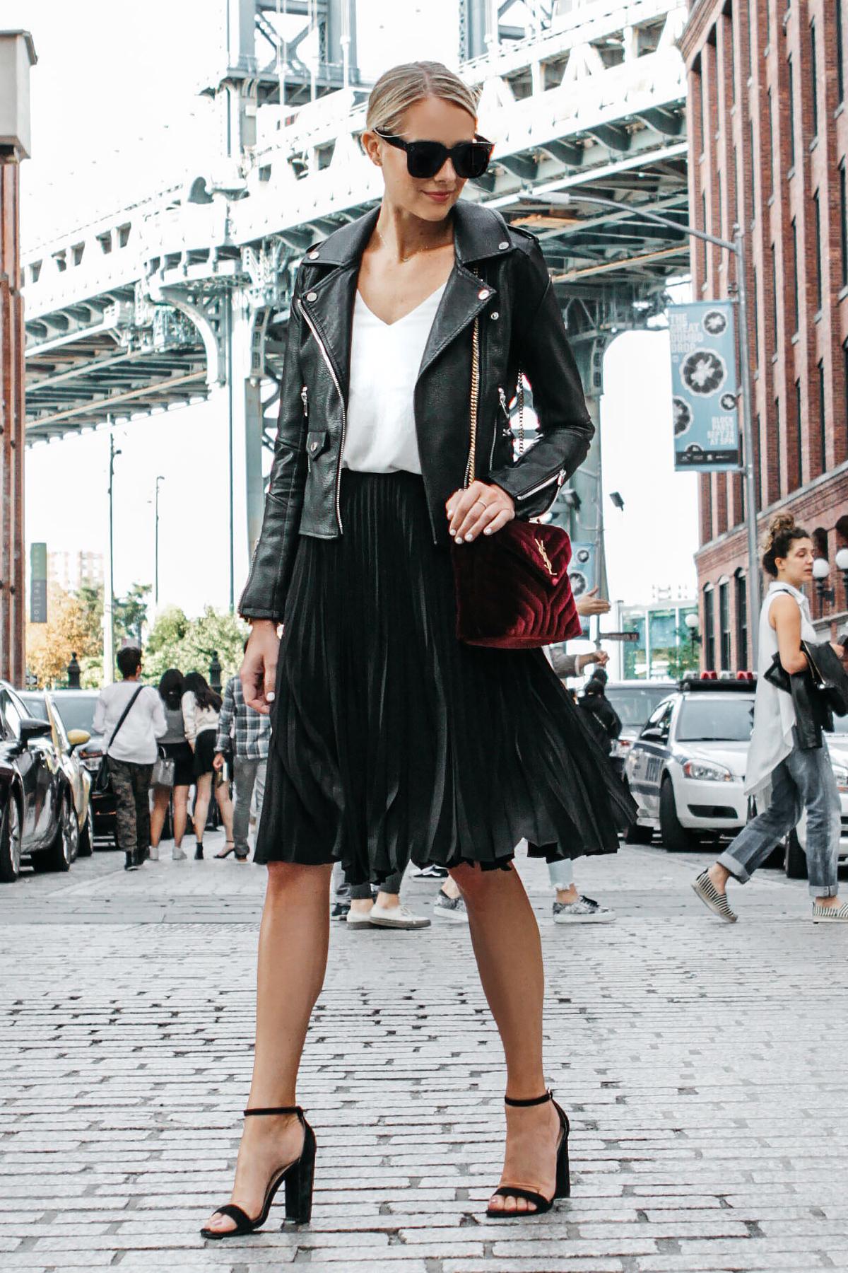 Blonde Woman Wearing Black Leather Jacket Black Pleated Midi Skirt Saint Laurent Burgundy Velvet Bag Black Ankle Strap Heeled Sandals Fashion Jackson Dallas Blogger Fashion Blogger Street Style NYFW Dumbo Bridge