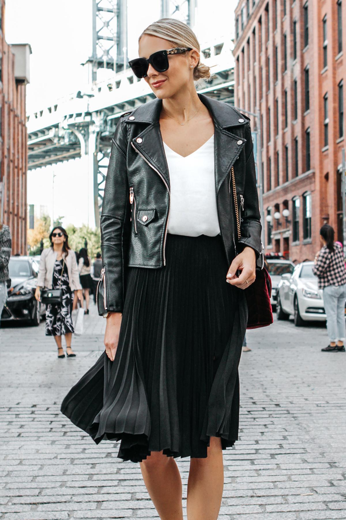 Blonde Woman Wearing Black Leather Jacket Black Pleated Midi Skirt Saint Laurent Burgundy Velvet Bag Fashion Jackson Dallas Blogger Fashion Blogger Street Style NYFW Dumbo Bridge