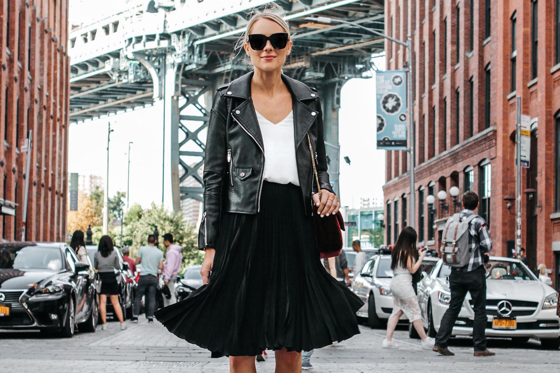 Blonde Woman Wearing Black Leather Jacket Black Pleated Midi Skirt Fashion Jackson Dallas Blogger Fashion Blogger Street Style NYFW Dumbo Bridge
