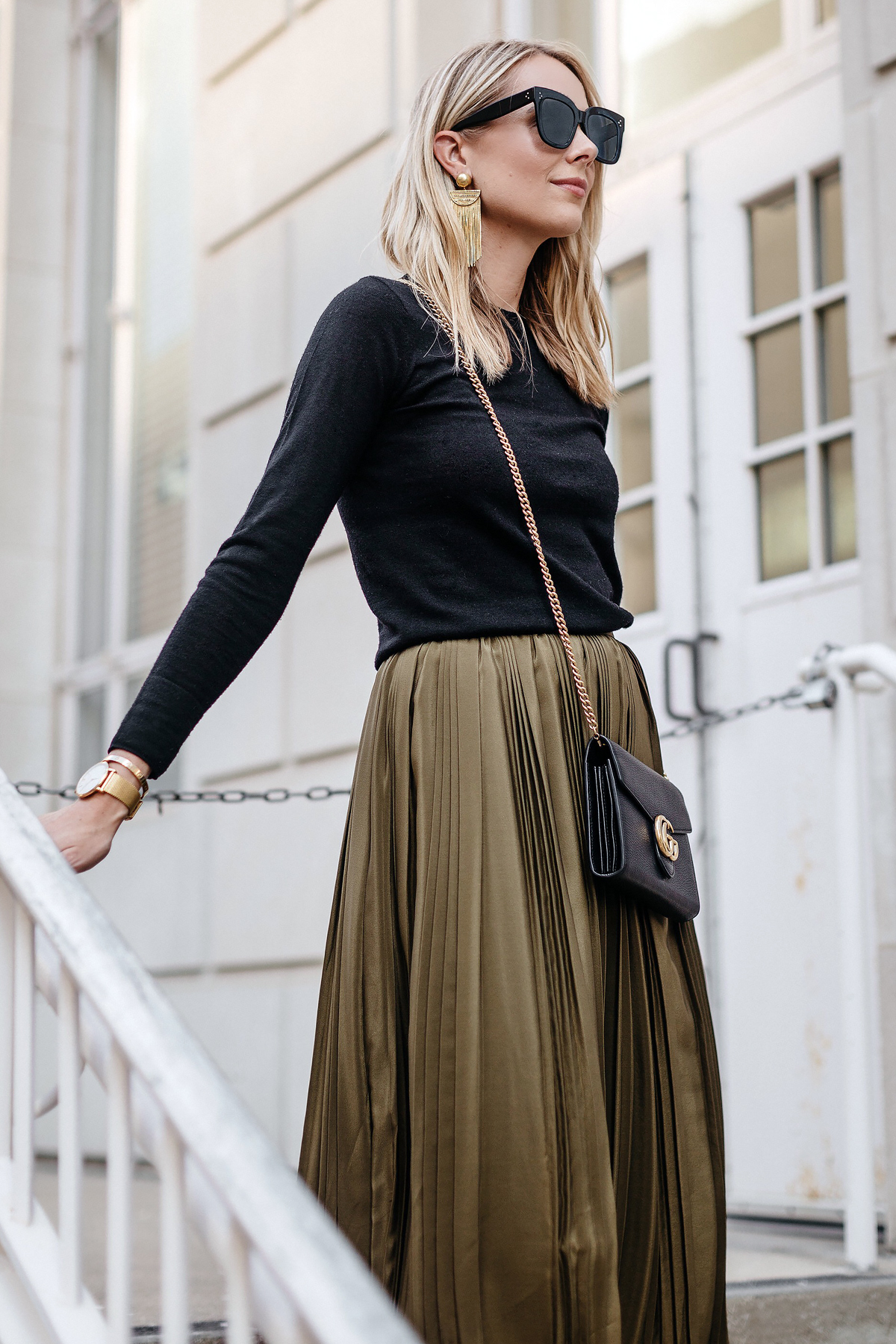 Blonde Woman Wearing Black Sweater Robert Rodriguez Green Pleated Midi Skirt Gucci Marmont Handbag Fashion Jackson Dallas Blogger Fashion Blogger Street Style