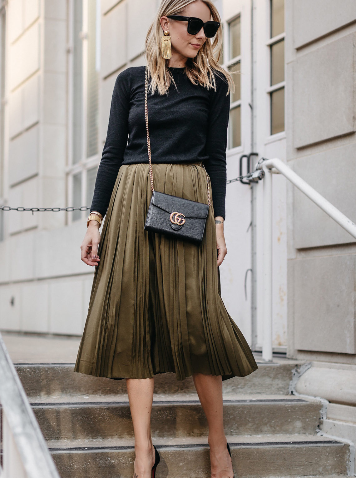 Blonde Woman Wearing Black Sweater Robert Rodriguez Green Pleated Skirt Gucci Marmont Handbag Christian Louboutin Black Pumps Fashion Jackson Dallas Blogger Fashion Blogger Street Style