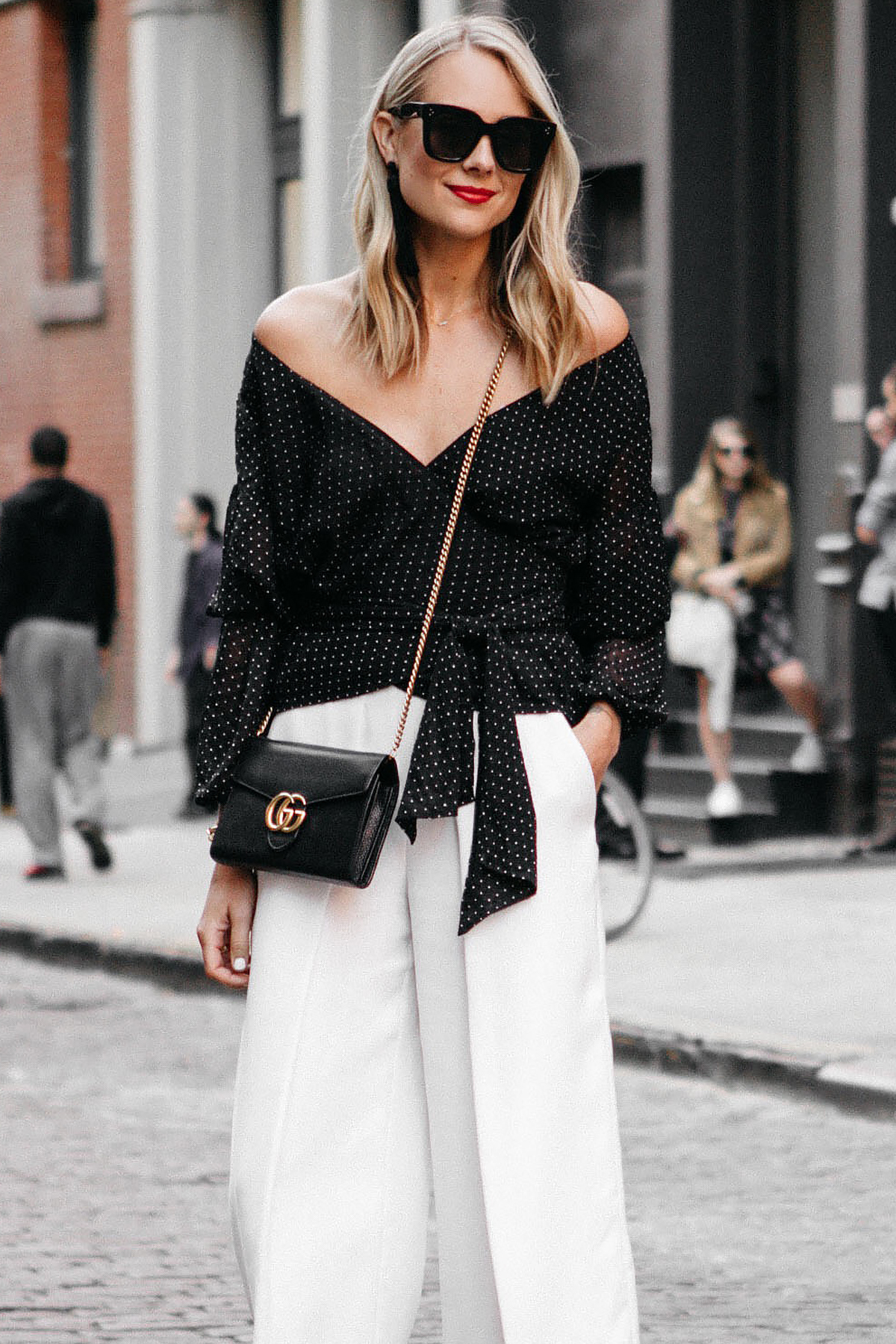 Blonde Woman Wearing Club Monaco Black Wrap Top White Culottes Gucci Marmont Handbag Fashion Jackson Dallas Blogger Fashion Blogger Street Style NYFW