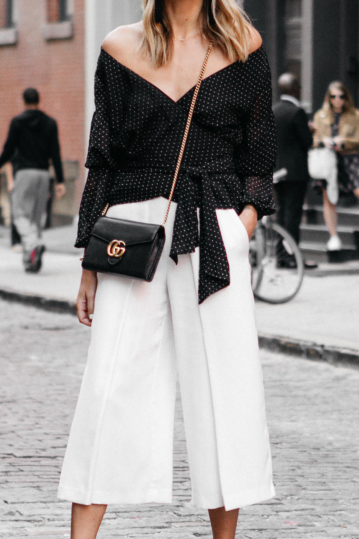 Club Monaco Black Wrap Top White Culottes Gucci Marmont Handbag Fashion Jackson Dallas Blogger Fashion Blogger NYFW