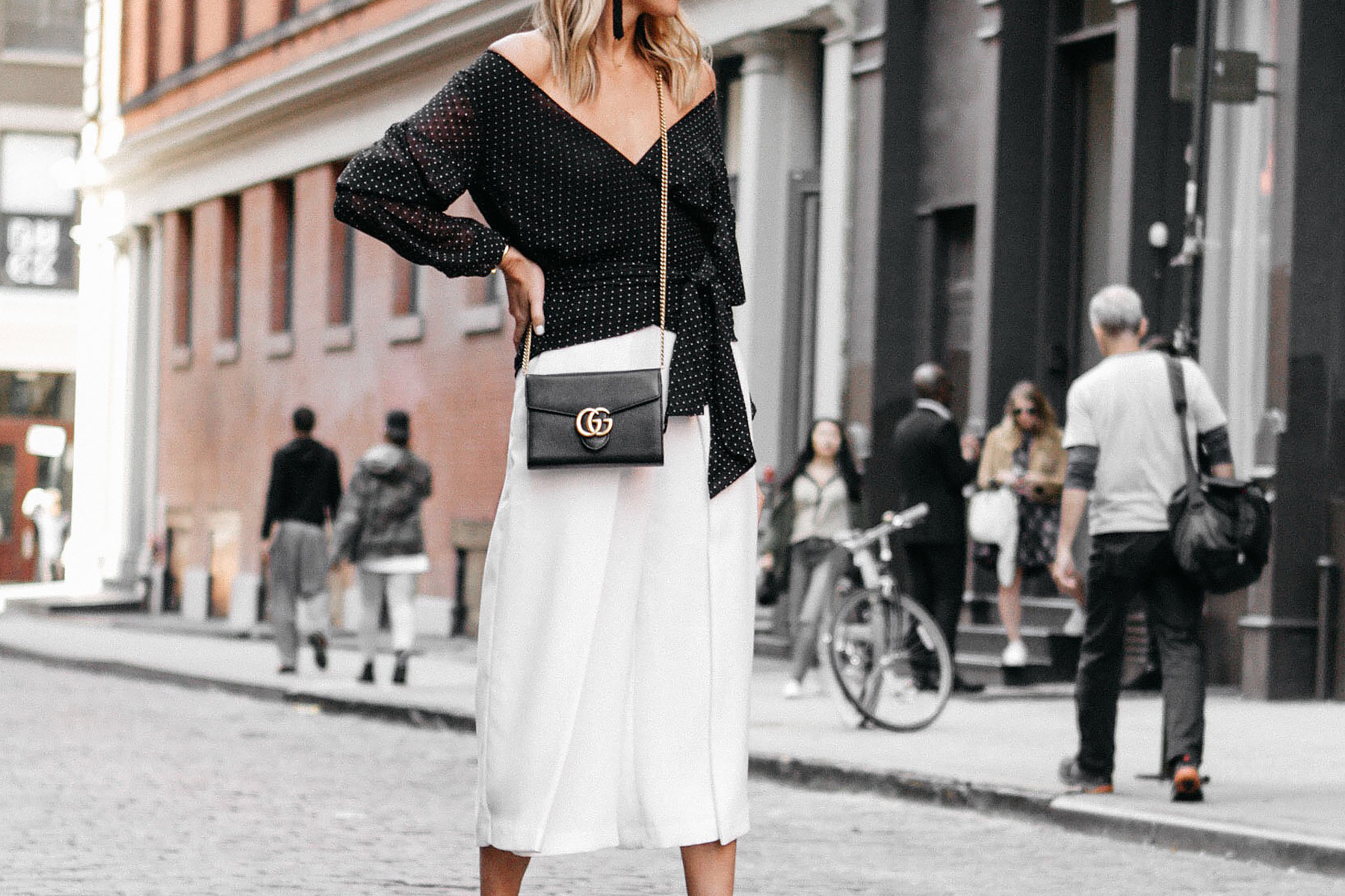 Club Monaco Black Wrap Top White Culottes Gucci Marmont Handbag Fashion Jackson Dallas Blogger Fashion Blogger Street Style NYFW