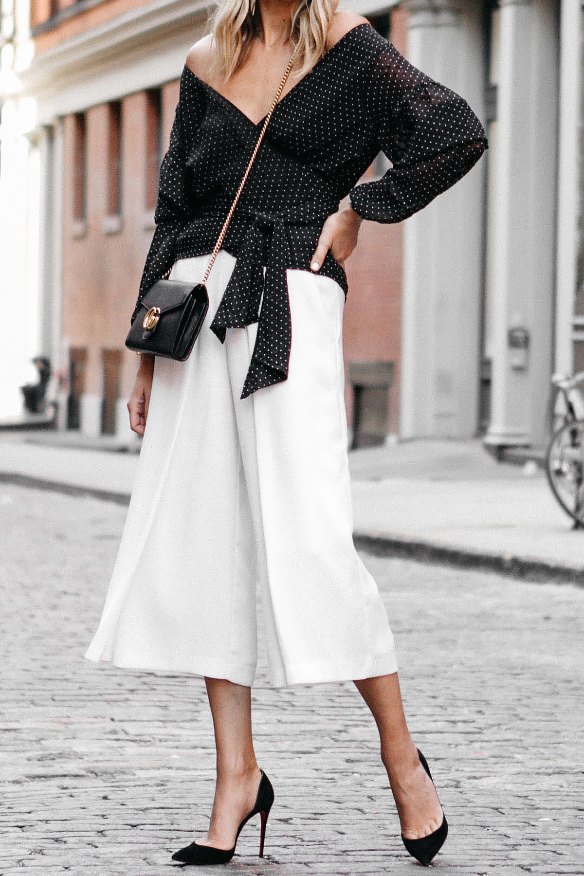 Club Monaco Black Wrap Top White Culottes Gucci Marmont Handbag Christian Louboutin Black Pumps Fashion Jackson Dallas Blogger Fashion Blogger Street Style NYFW