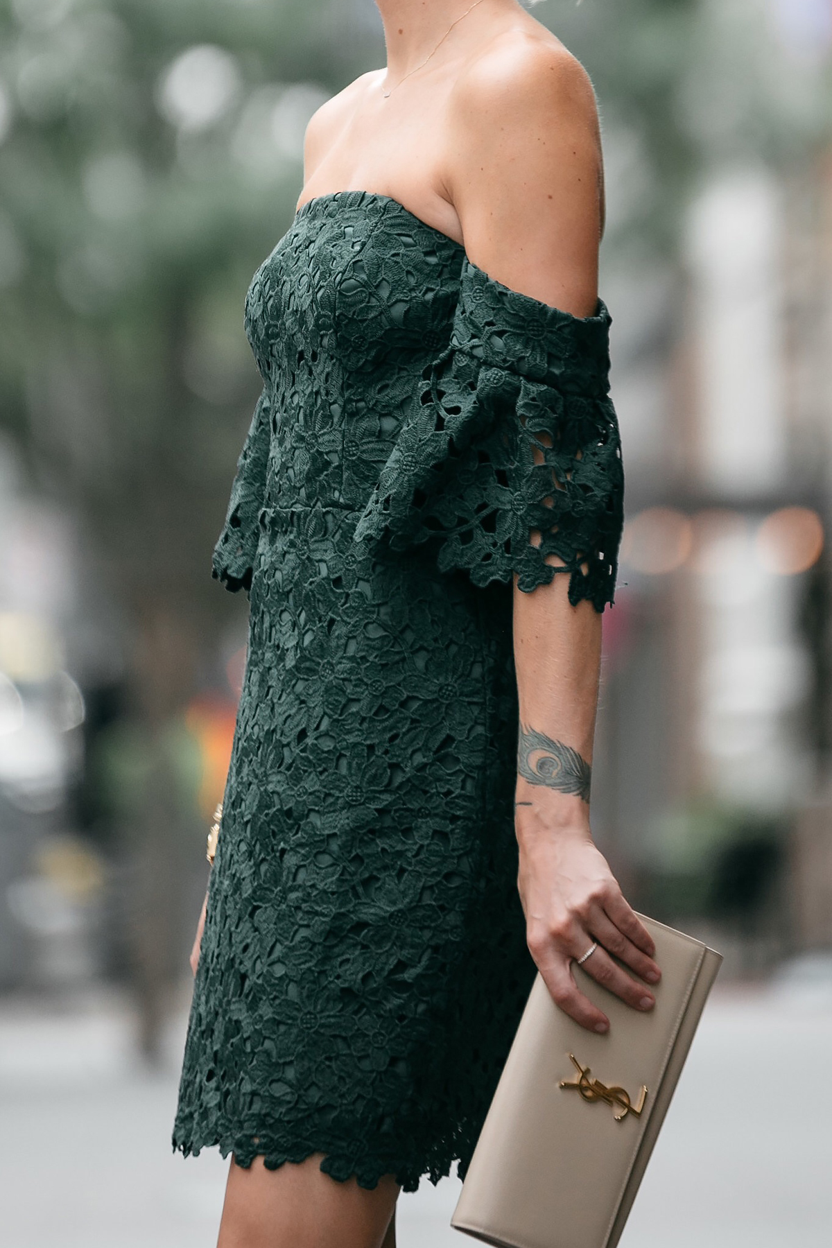 Club Monaco Off-the-Shoulder Green Lace Dress Saint Laurent Monogram Clutch Fashion Jackson Dallas Blogger Fashion Blogger Street Style