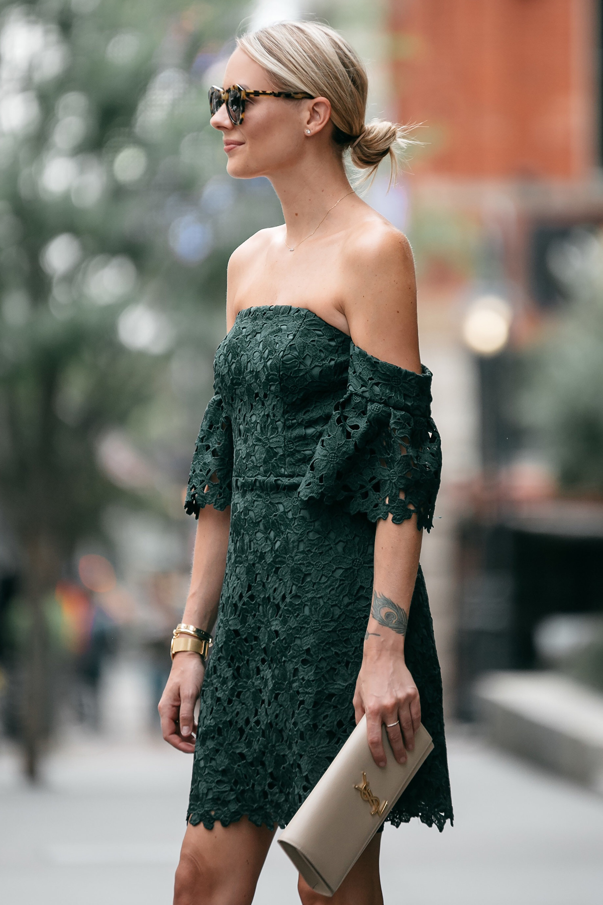 Blonde Woman Wearing Club Monaco Off-the-Shoulder Green Lace Dress Saint Laurent Monogram Clutch Fashion Jackson Dallas Blogger Fashion Blogger Street Style
