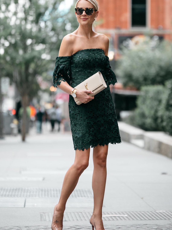 Blonde Woman Wearing Club Monaco Off-the-Shoulder Green Lace Dress Saint Laurent Monogram Clutch Christian Louboutin Nude Pumps Fashion Jackson Dallas Blogger Fashion Blogger Street Style