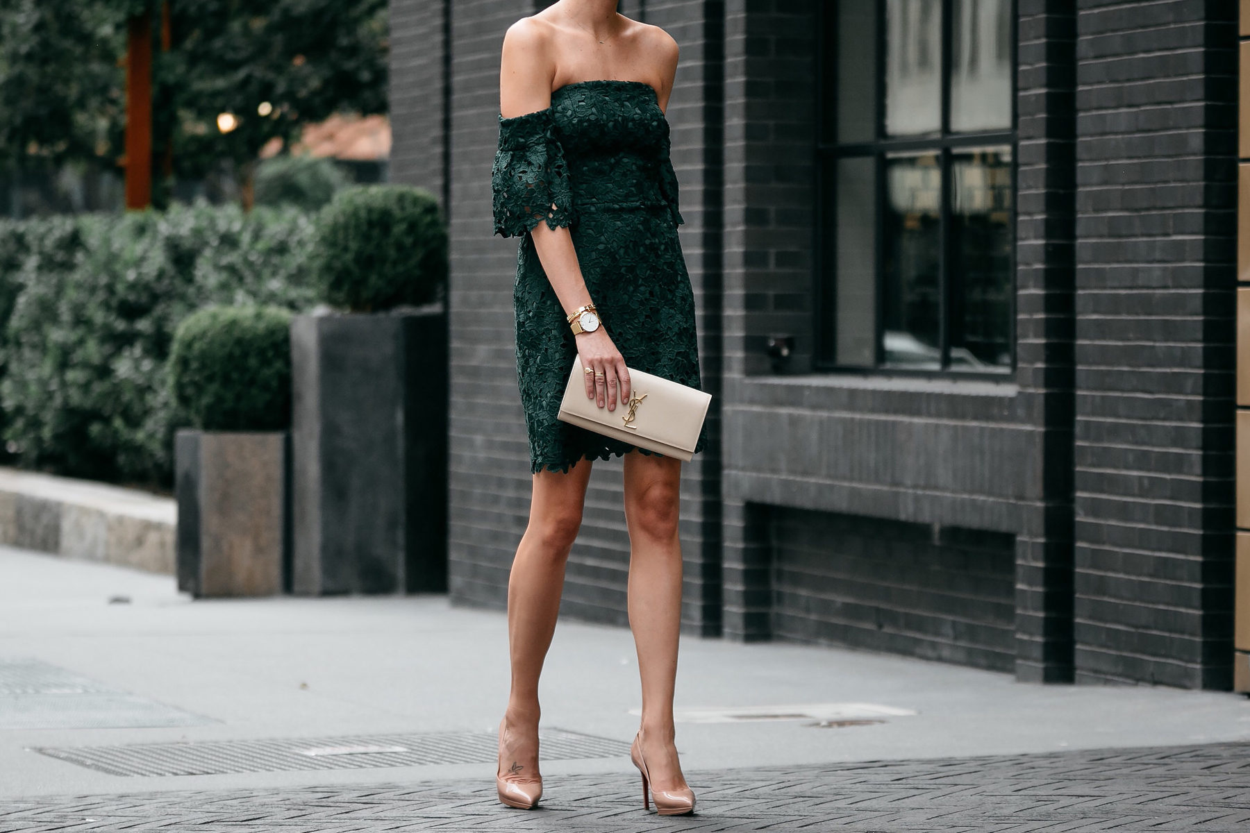 Club Monaco Off-the-Shoulder Green Lace Dress Saint Laurent Monogram Clutch Christian Louboutin Nude Pumps Fashion Jackson Dallas Blogger Fashion Blogger Street Style