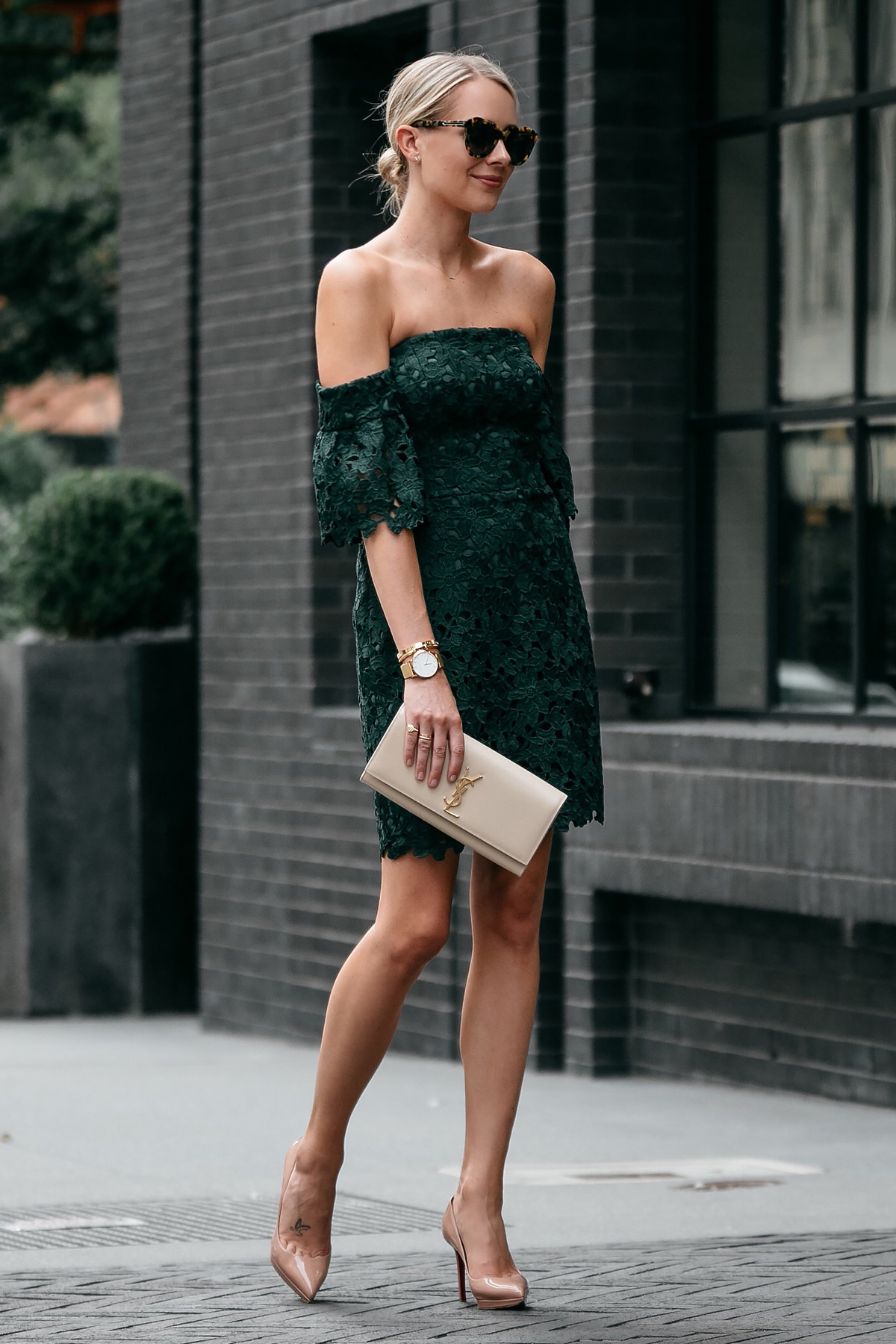 Blonde Woman Wearing Club Monaco Off-the-Shoulder Green Lace Dress Saint Laurent Monogram Clutch Christian Louboutin Nude Pumps Fashion Jackson Dallas Blogger Fashion Blogger Street Style