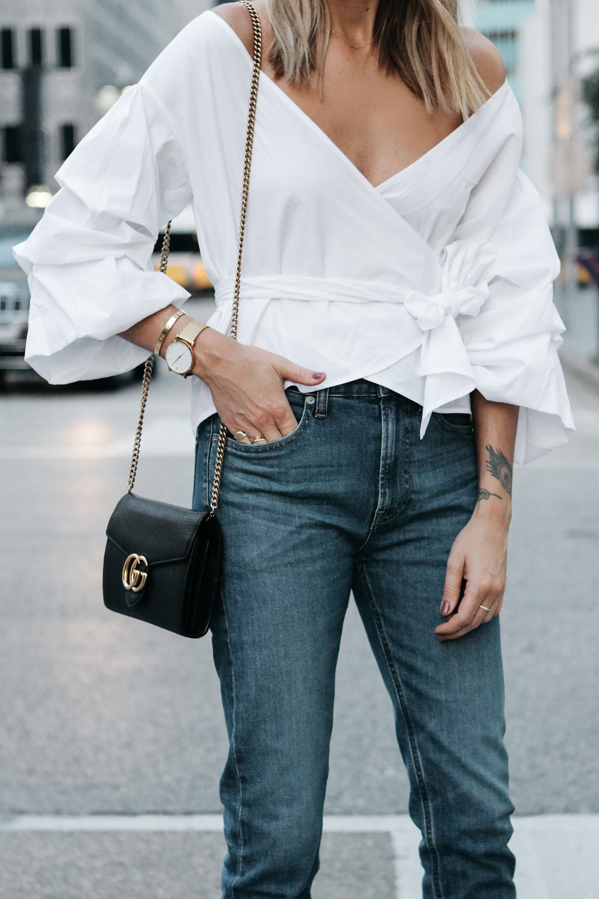Club Monaco White Ruffle Sleeve Wrap Top Gucci Marmont Handbag Everlane Boyfriend Jeans Fashion Jackson Dallas Blogger Fashion Blogger Street Style