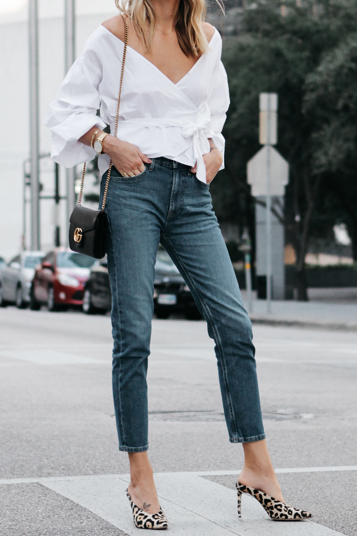Club Monaco White Ruffle Sleeve Wrap Top Gucci Marmont Handbag Everlane Boyfriend Jeans Club Monaco Leopard Heels Fashion Jackson Dallas Blogger Fashion Blogger Street Style