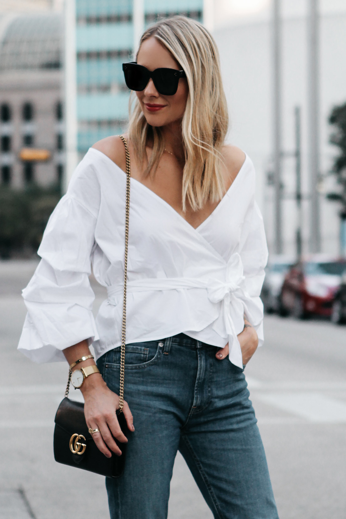 Blonde Woman Wearing Club Monaco White Ruffle Sleeve Wrap Top Gucci Marmont Handbag Everlane Denim Fashion Jackson Dallas Blogger Fashion Blogger Street Style