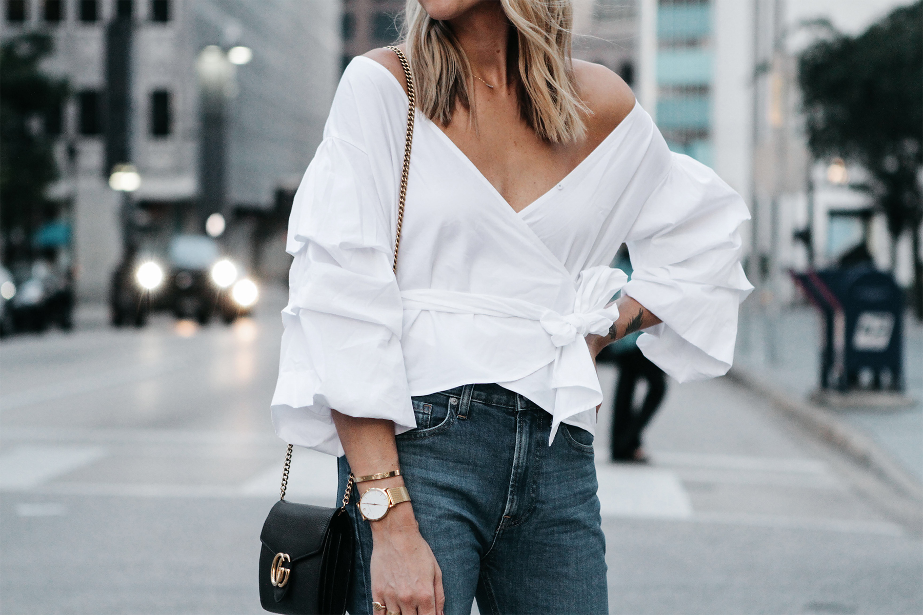 Club Monaco White Ruffle Sleeve Wrap Top Gucci Marmont Handbag Fashion Jackson Dallas Blogger Fashion Blogger Street Style