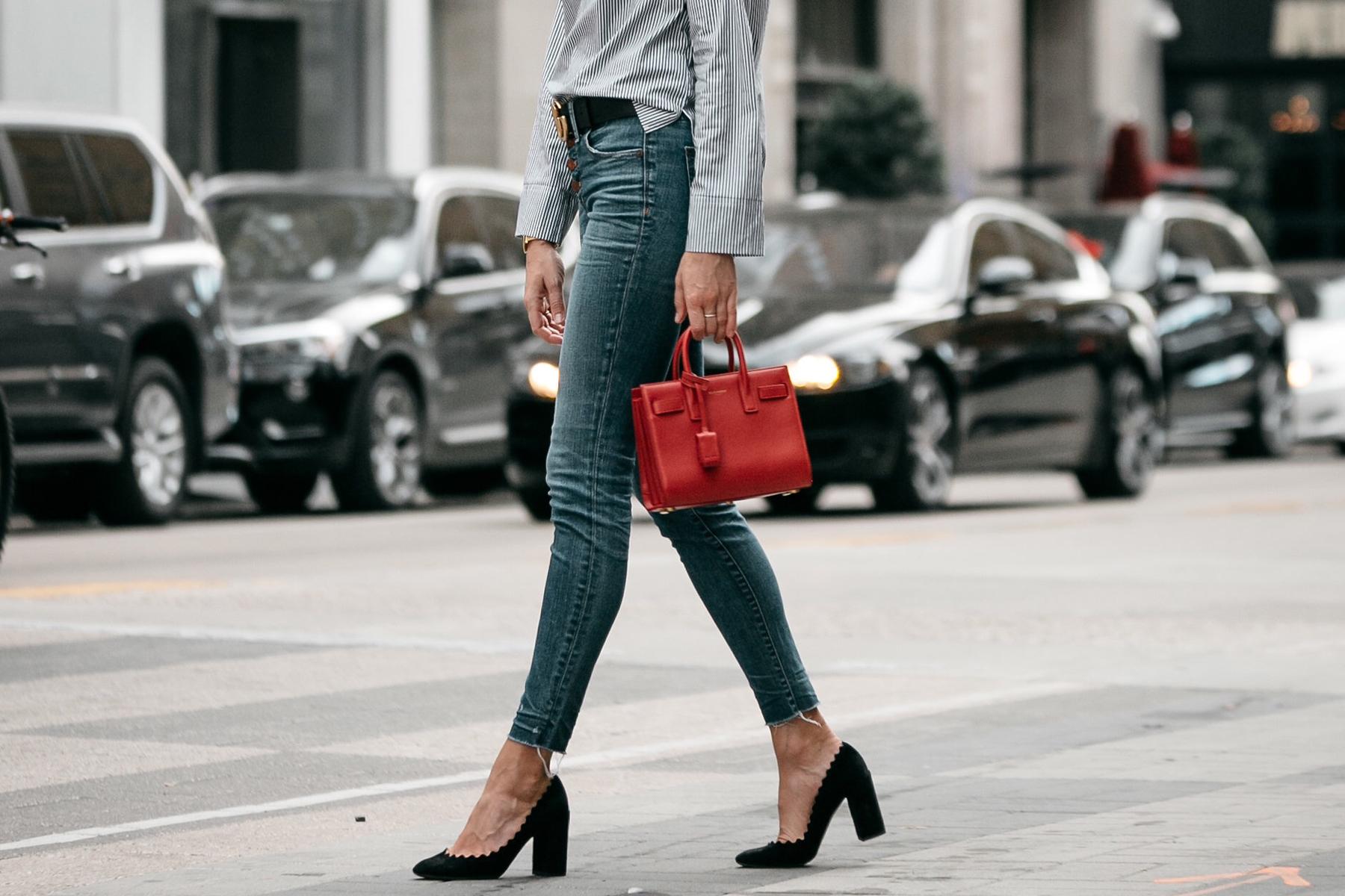 Denim Skinny Jeans Gucci Belt Saint Laurent Sac De Jour Mini Red Fashion Jackson Dallas Blogger Fashion Blogger Street Style