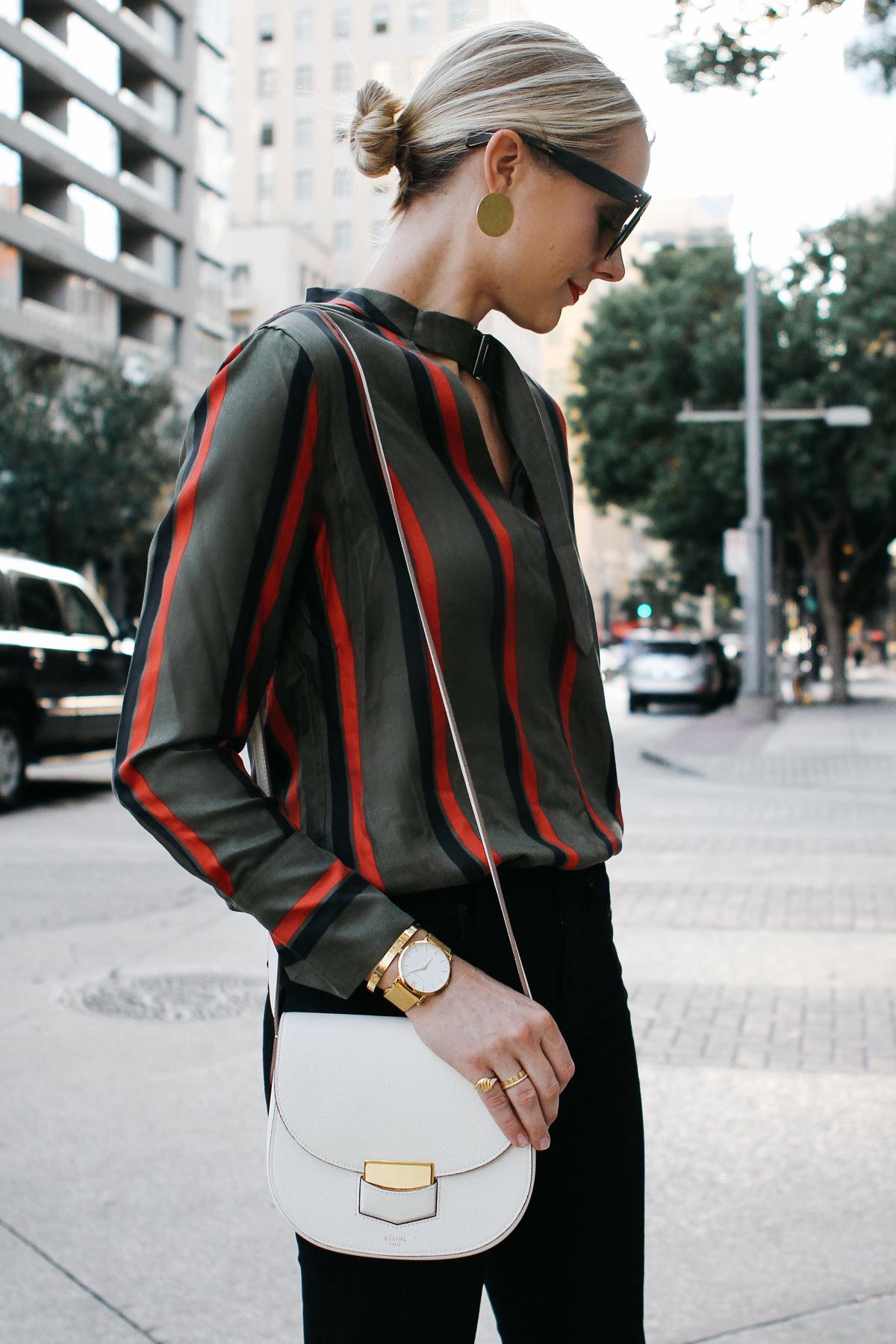 Blonde Woman Wearing Equipment Janelle Striped Blouse Celine Trotteur White Handbag Fashion Jackson Dallas Blogger Fashion Blogger Street Style