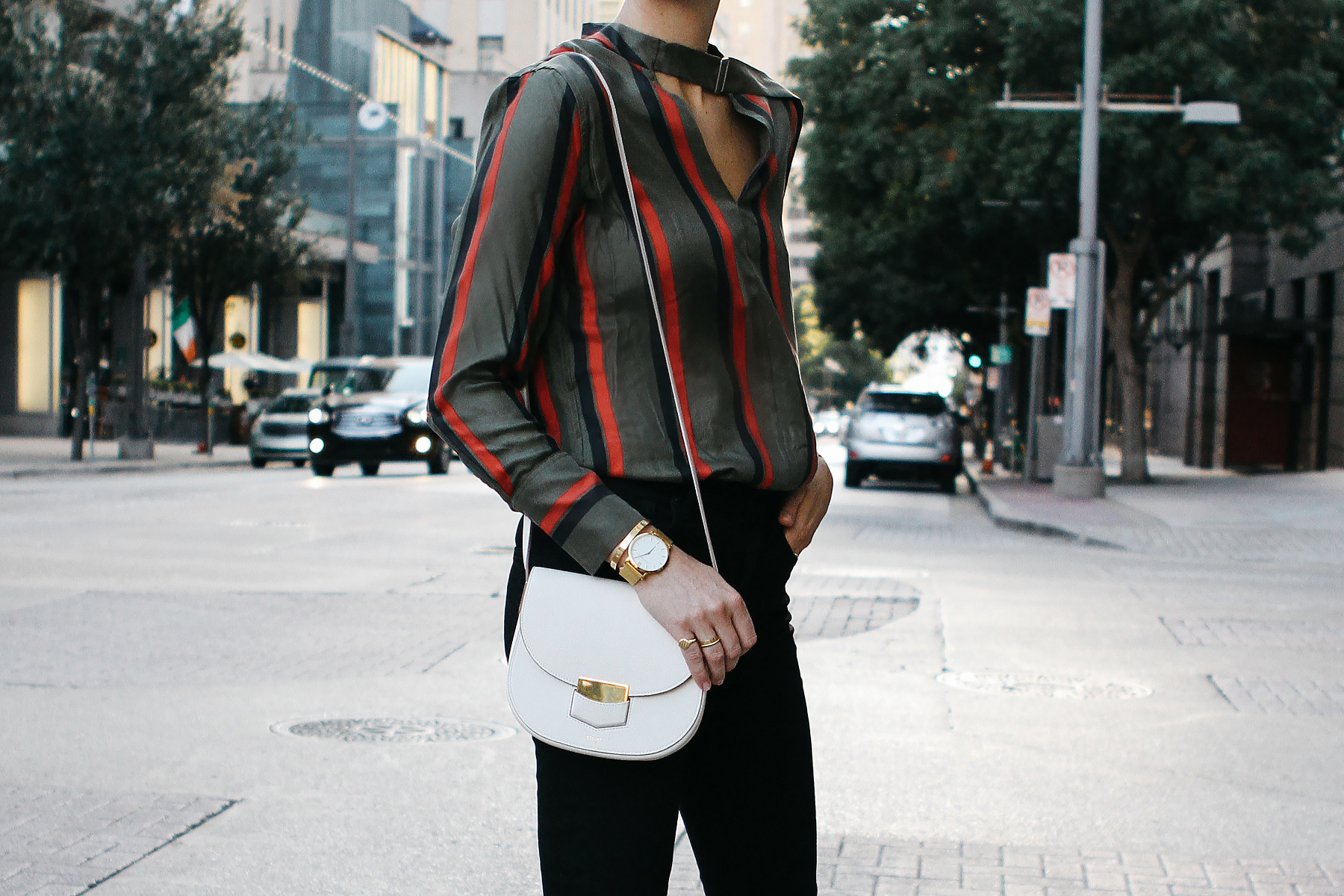 Equipment Janelle Striped Blouse Celine Trotteur White Handbag Fashion Jackson Dallas Blogger Fashion Blogger Street Style