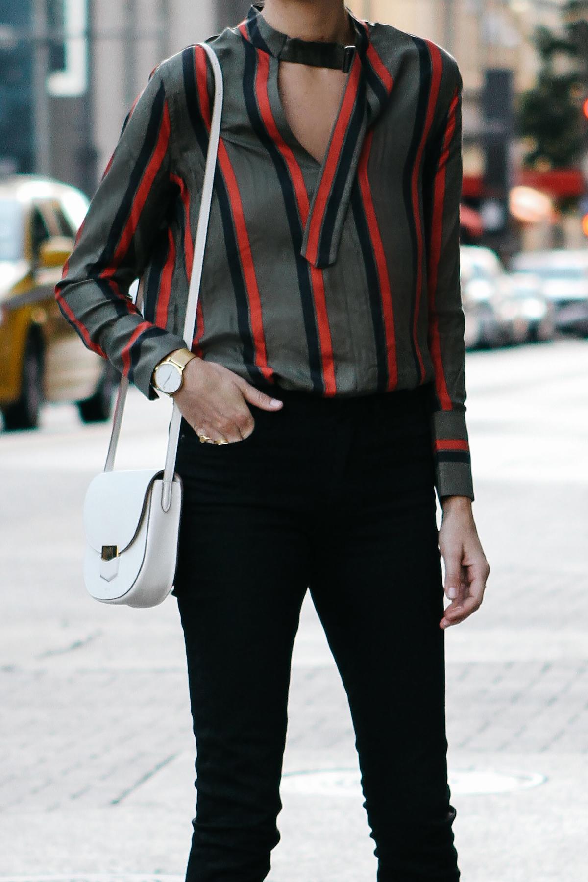 Equipment Janelle Striped Blouse Everlane Black Skinny Jeans Celine Trotteur White Handbag Fashion Jackson Dallas Blogger Fashion Blogger Street Style
