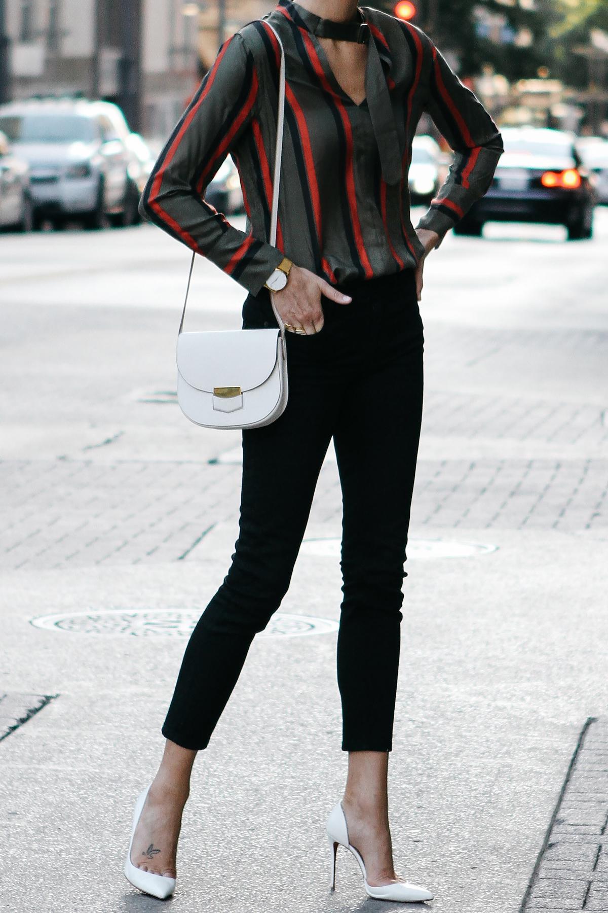 Equipment Janelle Striped Blouse Everlane Black Skinny Jeans Christian Louboutin White Pumps Celine Trotteur White Handbag Fashion Jackson Dallas Blogger Fashion Blogger Street Style