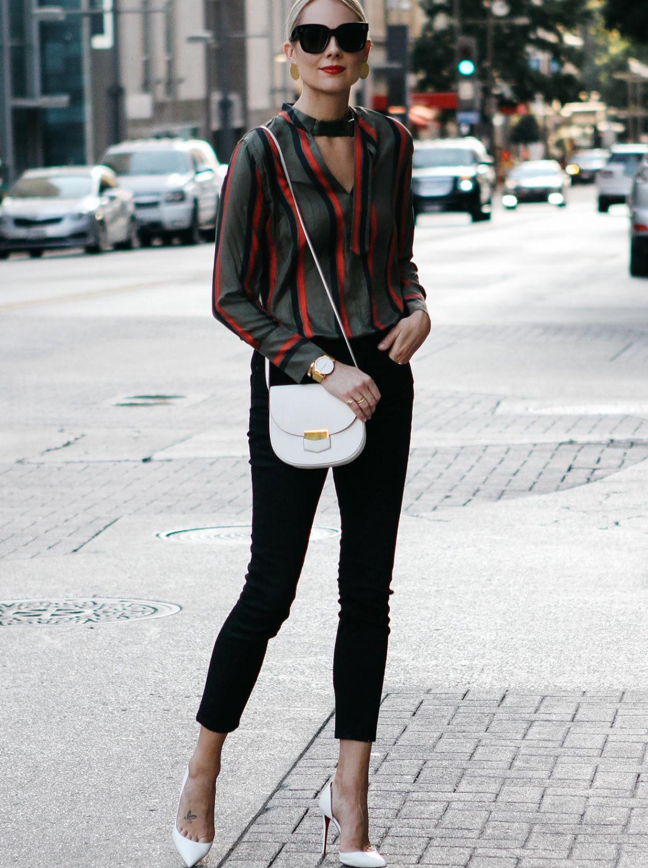 9b7150d4c47a Blonde Woman Wearing Equipment Janelle Striped Blouse Everlane Black Skinny  Jeans Christian Louboutin White Pumps Celine