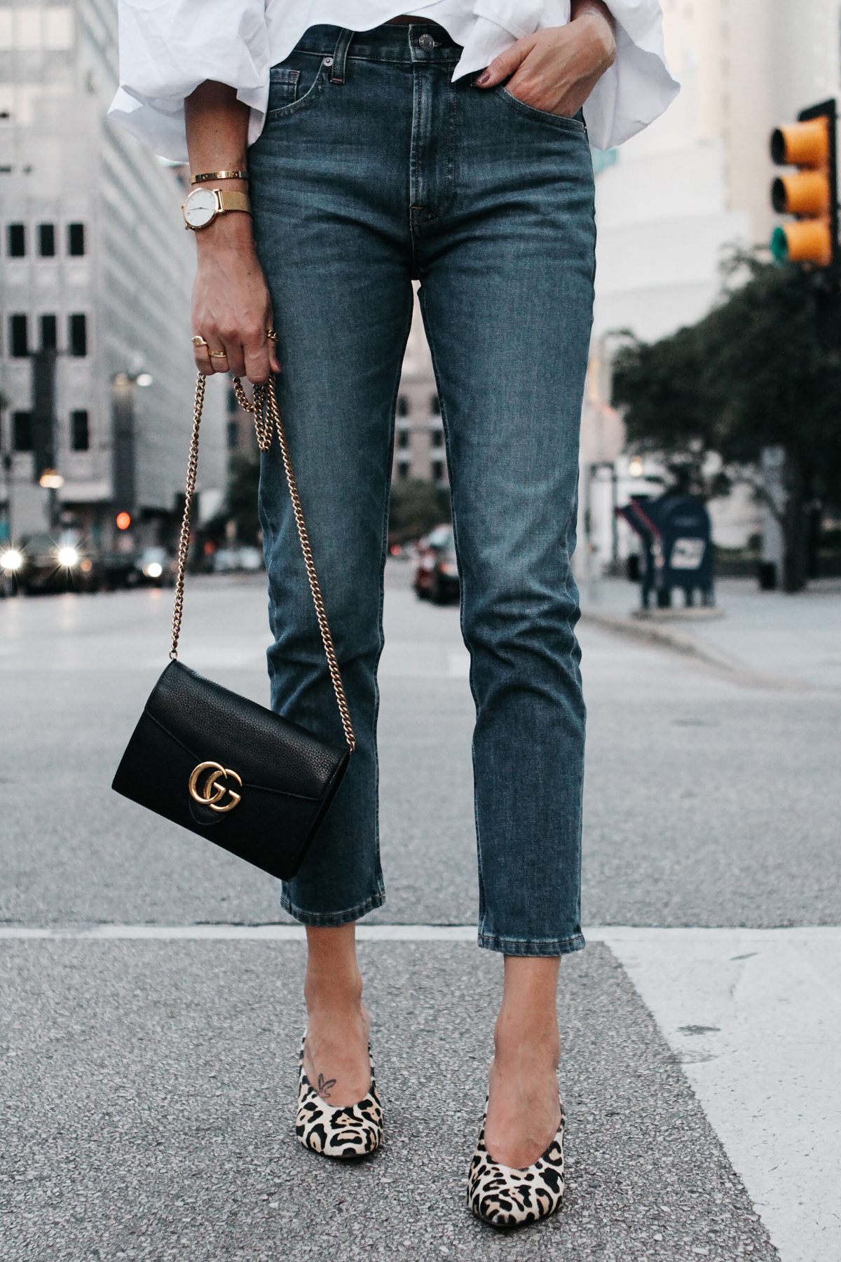 Everlane Boyfriend Jeans Gucci Marmont Handbag Club Monaco Leopard Heels Fashion Jackson Dallas Blogger Fashion Blogger Street Style