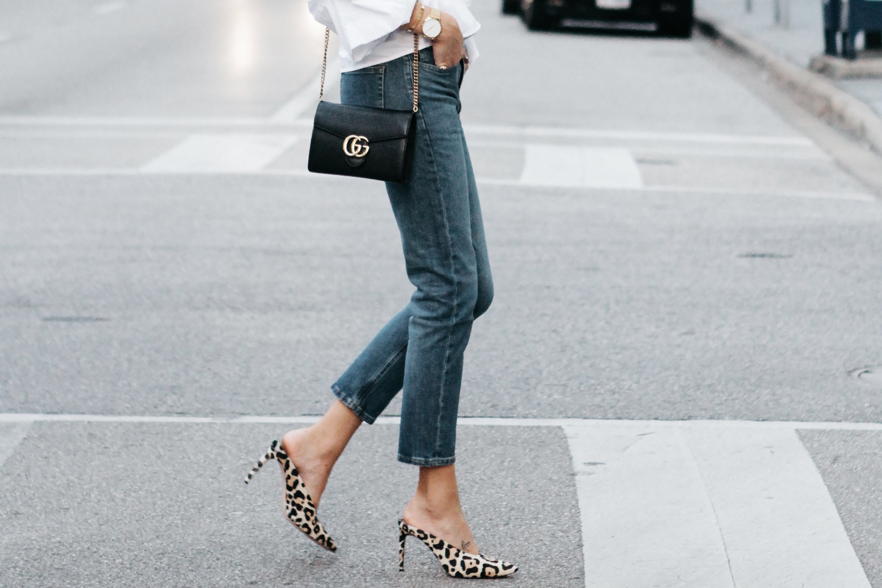 Gucci Marmont Handbag Everlane Boyfriend Jeans Club Monaco Leopard Heels Fashion Jackson Dallas Blogger Fashion Blogger Street Style