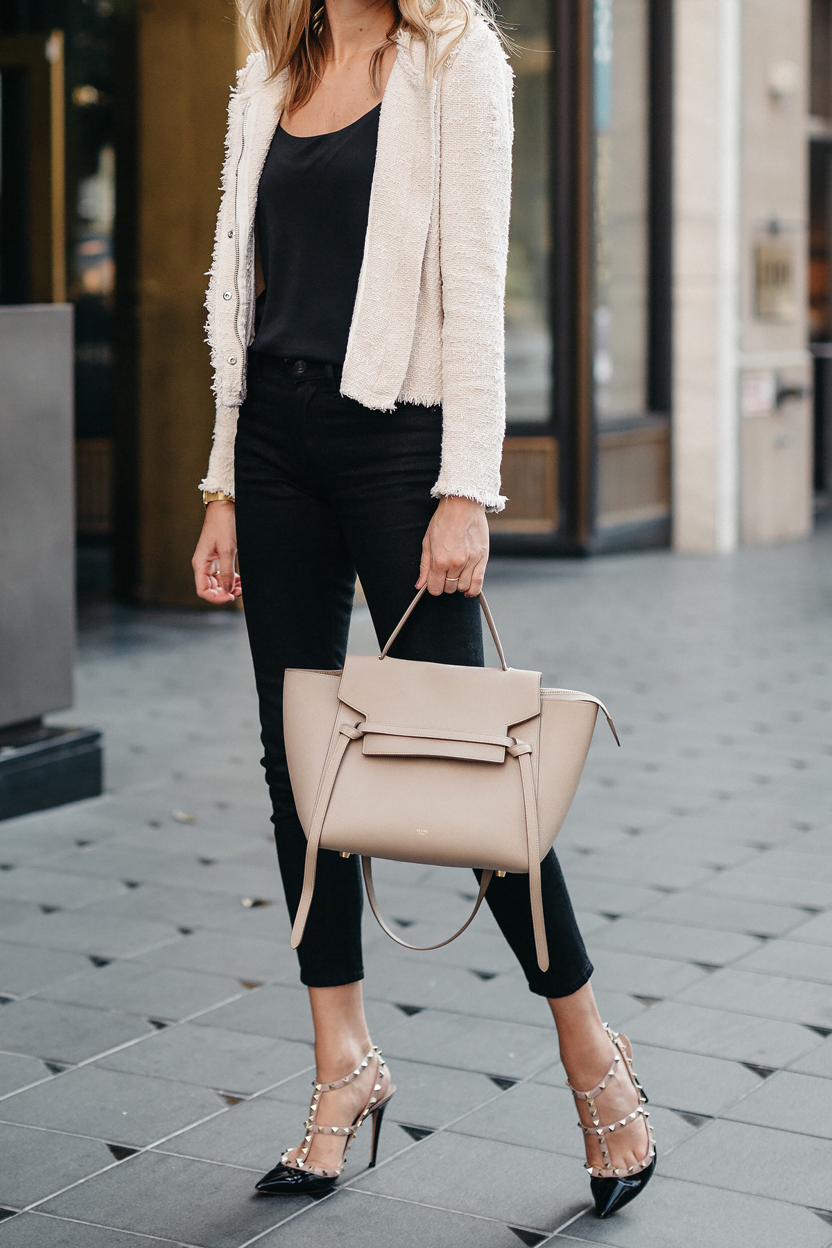 IRO Agnette Tweed Jacket Black Skinny Jeans Celine Belt Bag Valentino Rockstud Pumps Fashion Jackson Dallas Blogger Fashion Blogger Street Style