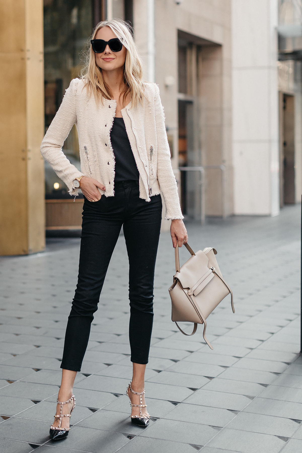 Blonde Woman Wearing IRO Agnette Tweed Jacket Black Skinny Jeans Celine Belt Bag Valentino Rockstud Pumps Fashion jackson Dallas Blogger Fashion Blogger Street Style