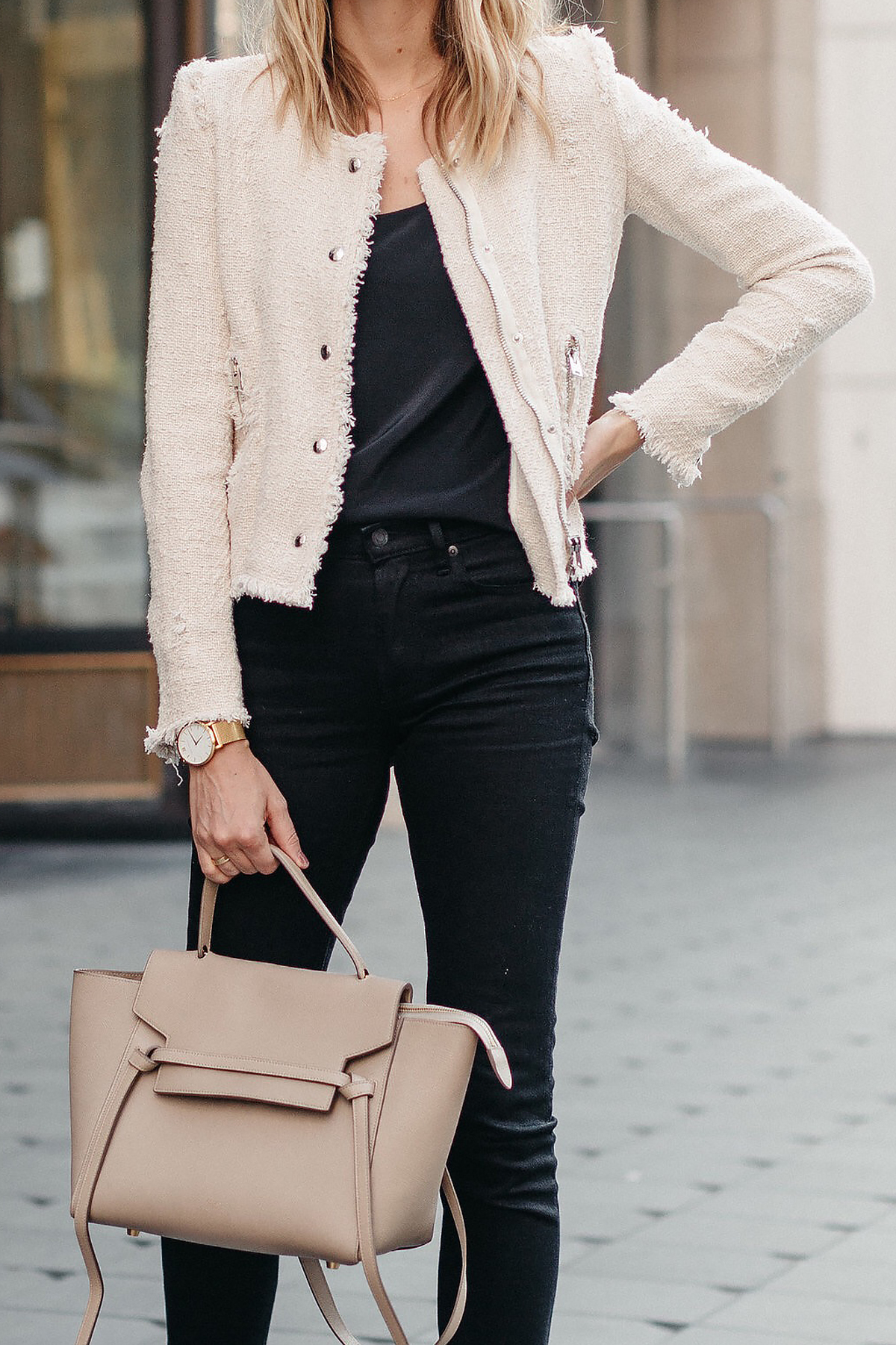 IRO Agnette Tweed Jacket Black Skinny Jeans Celine Belt Bag Fashion Jackson Dallas Blogger Fashion Blogger Street Style