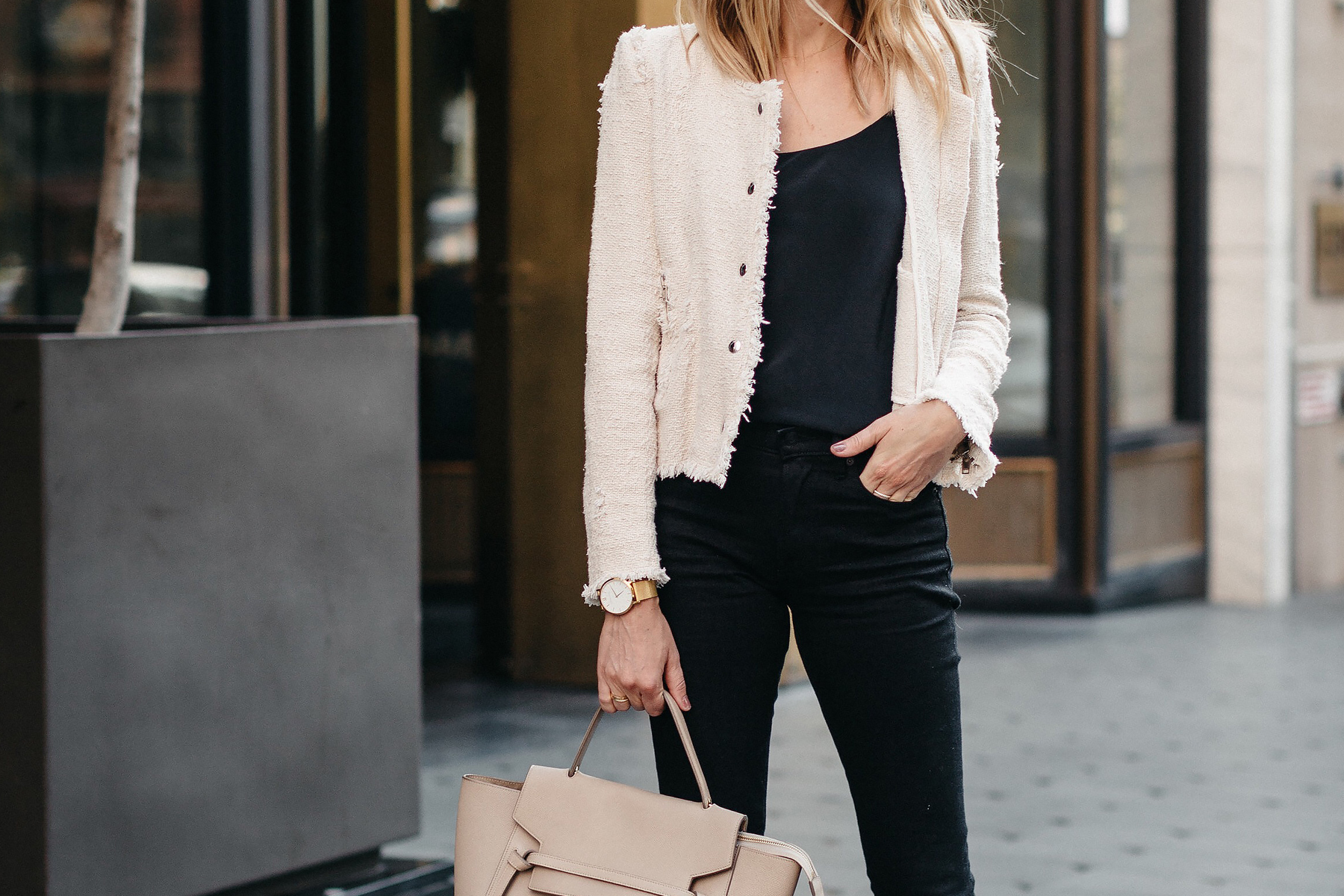 IRO Agnette Tweed Jacket Black Skinny Jeans Fashion Jackson Dallas Blogger Fashion Blogger Street Style