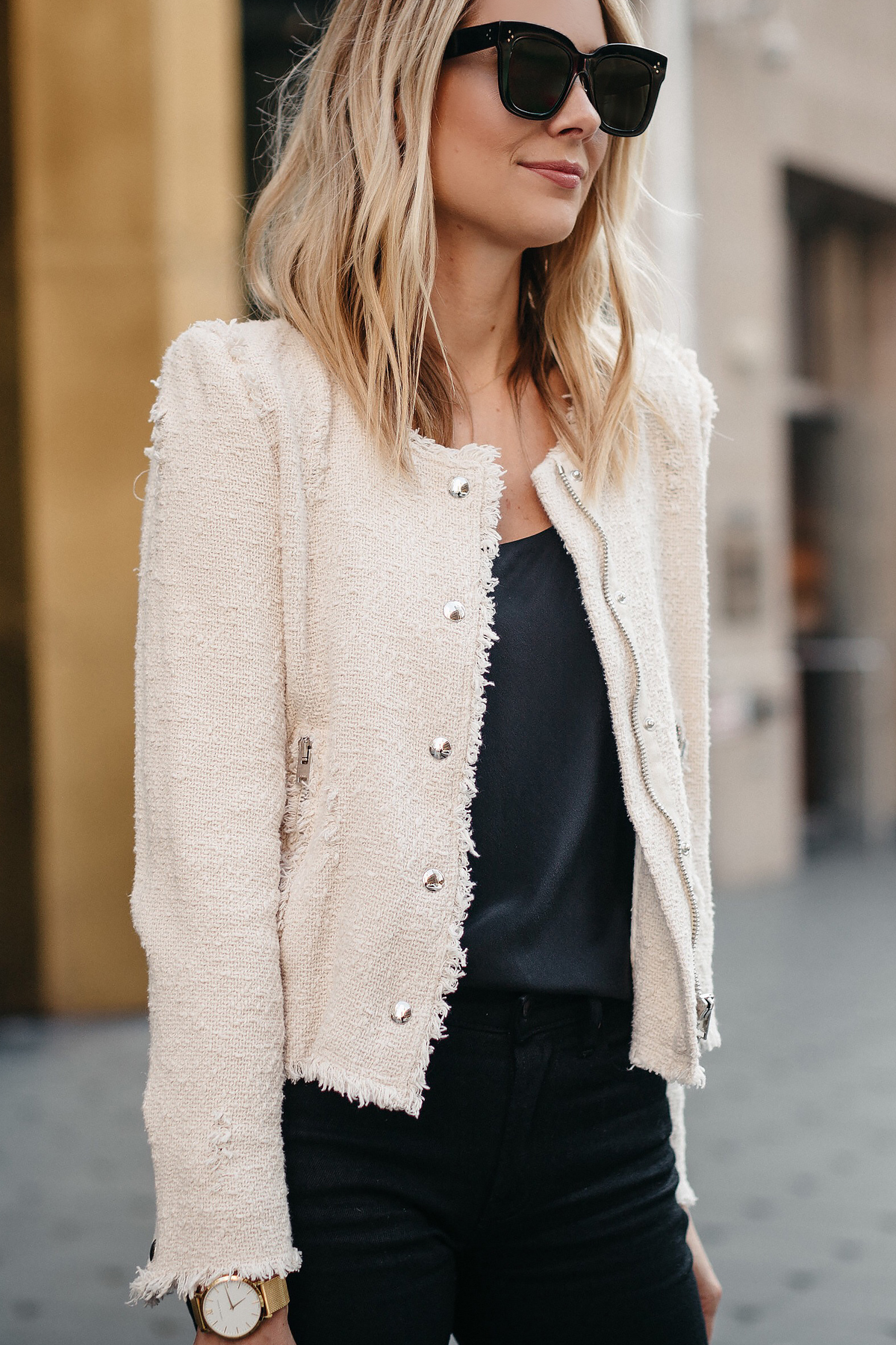 Blonde Woman Wearing IRO Agnette Tweed Jacket Fashion Jackson Dallas Blogger Fashion Blogger Street Style
