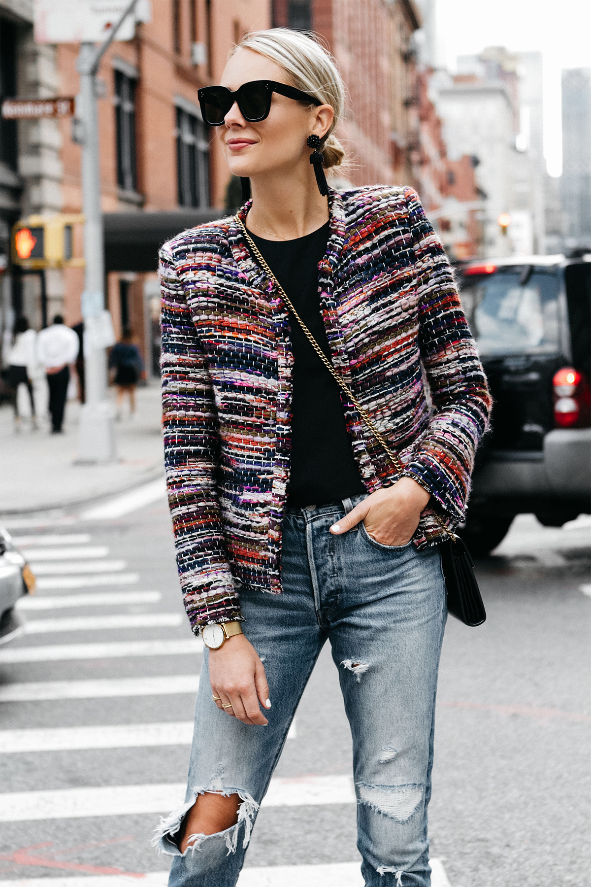 Blonde Woman Wearing IRO Multicolored Tweed Jacket Denim Ripped Jeans Fashion Jackson Dallas Blogger Fashion Blogger Street Style