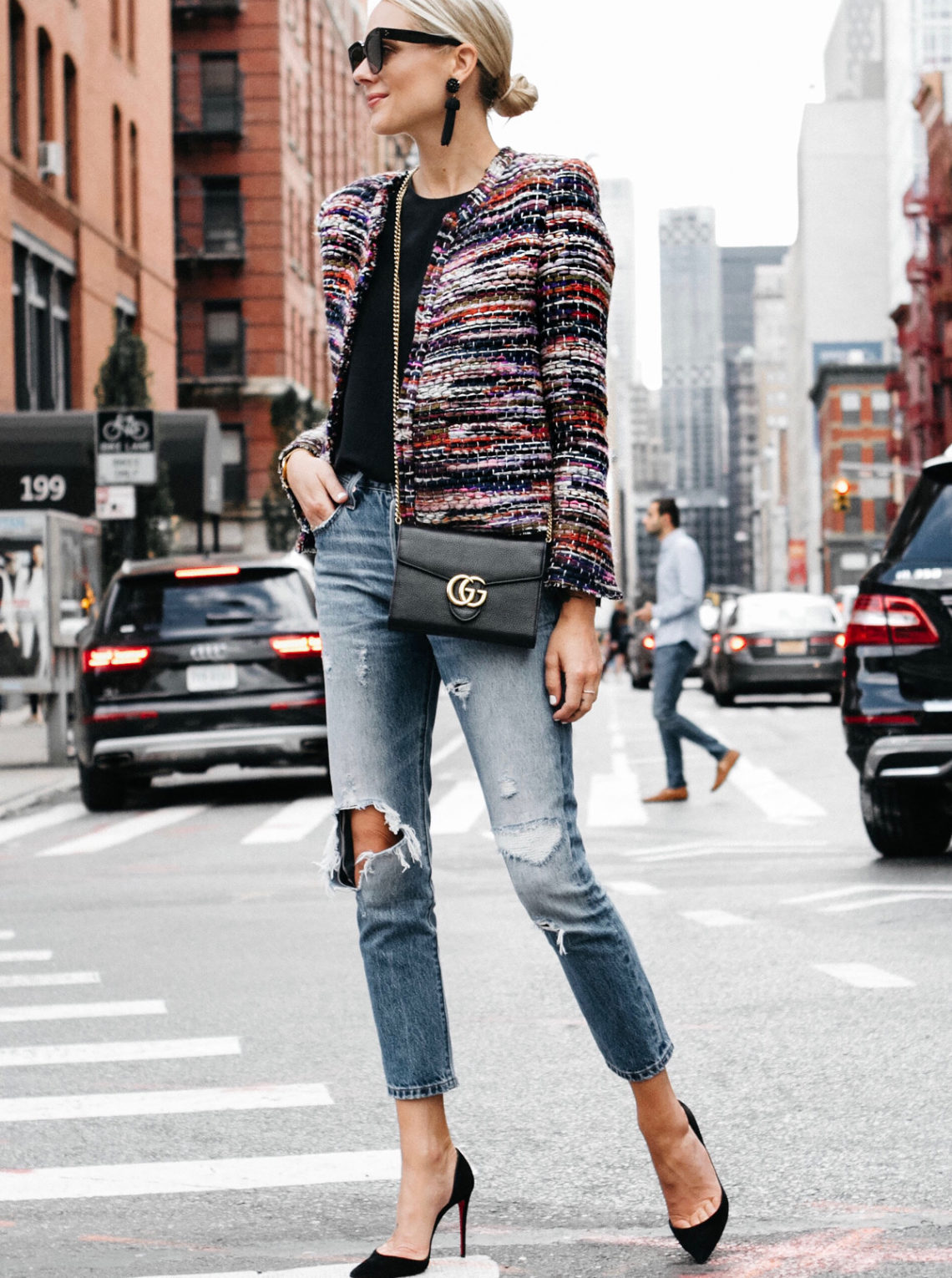 Blonde Woman Wearing IRO Multicolored Tweed Jacket Denim Ripped Skinny Jeans Gucci Marmont Handbag Christian Louboutin Black Pumps Fashion Jackson Dallas Blogger Fashion Blogger Street Style NYFW