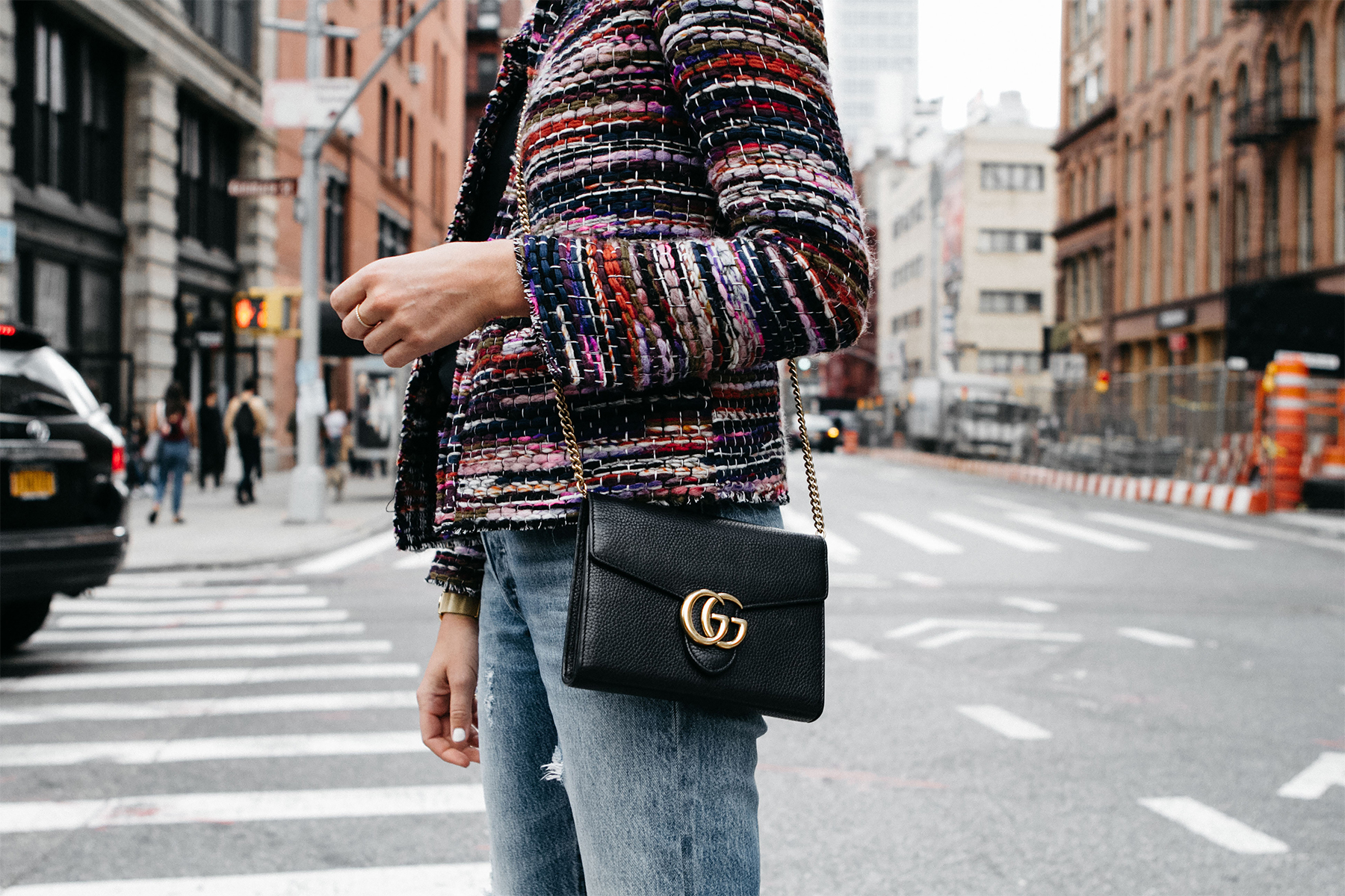 IRO Multicolored Tweed Jacket Gucci Marmont Handbag Fashion Jackson Dallas Blogger Fashion Blogger Street Style NYFW