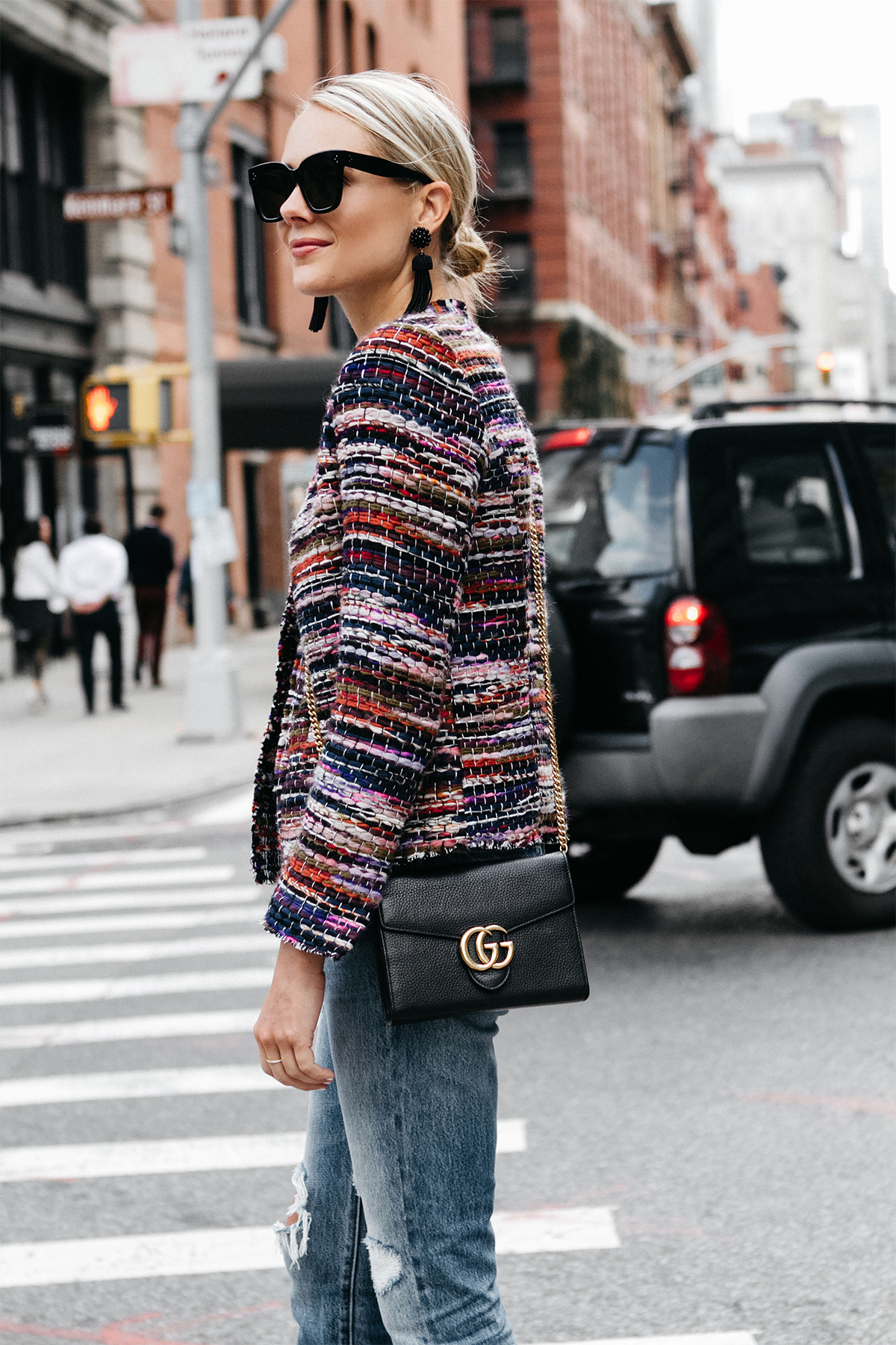 Blonde Woman Wearing IRO Multicolored Tweed Jacket Gucci Marmont Handbag Fashion Jackson Dallas Blogger Fashion Blogger Street Style NYFW