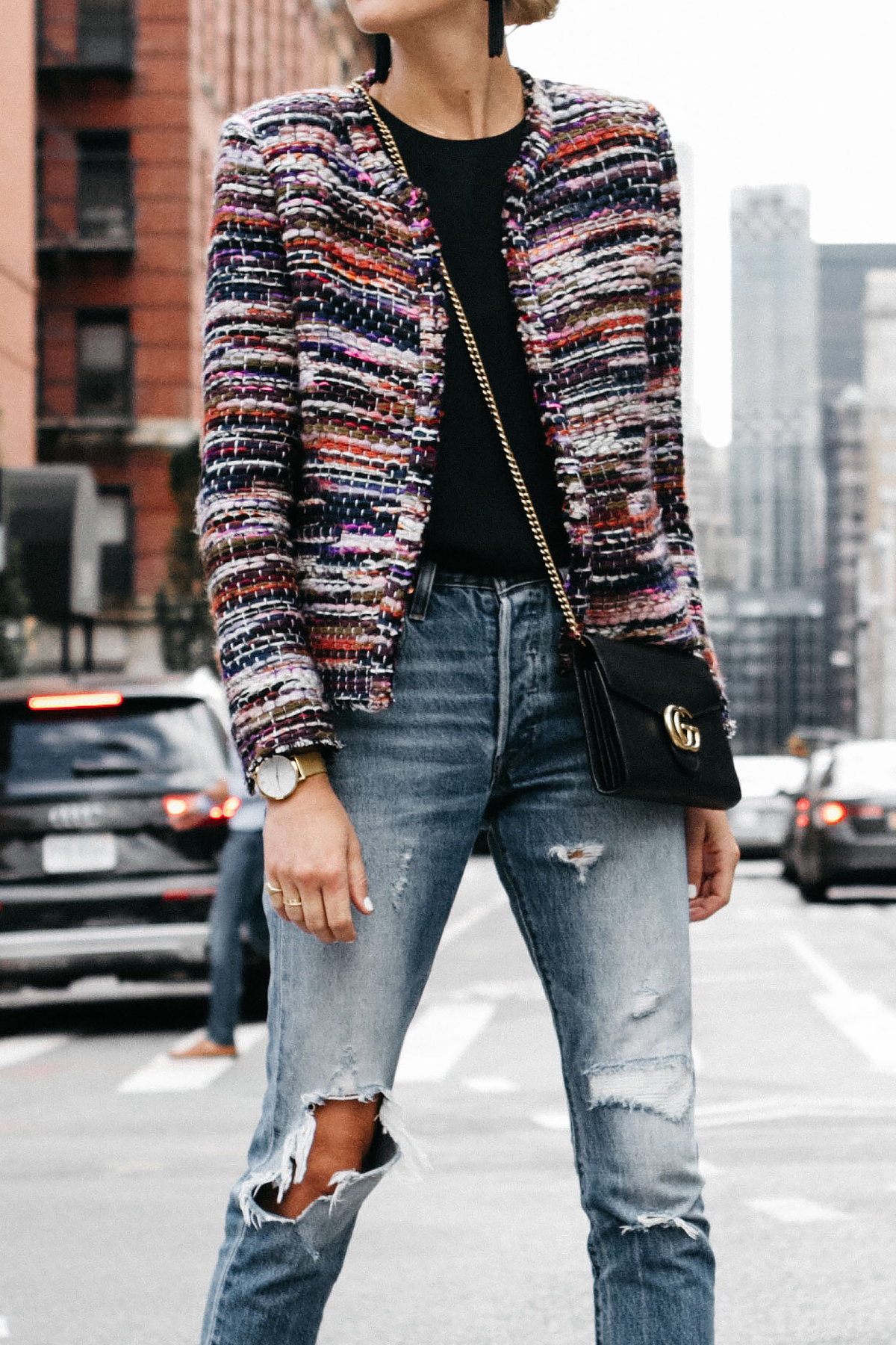 IRO Multicolored Tweed Jacket Gucci Marmont Handbag Denim Ripped Jeans Fashion Jackson Dallas Blogger Fashion Blogger Street Style NYFW