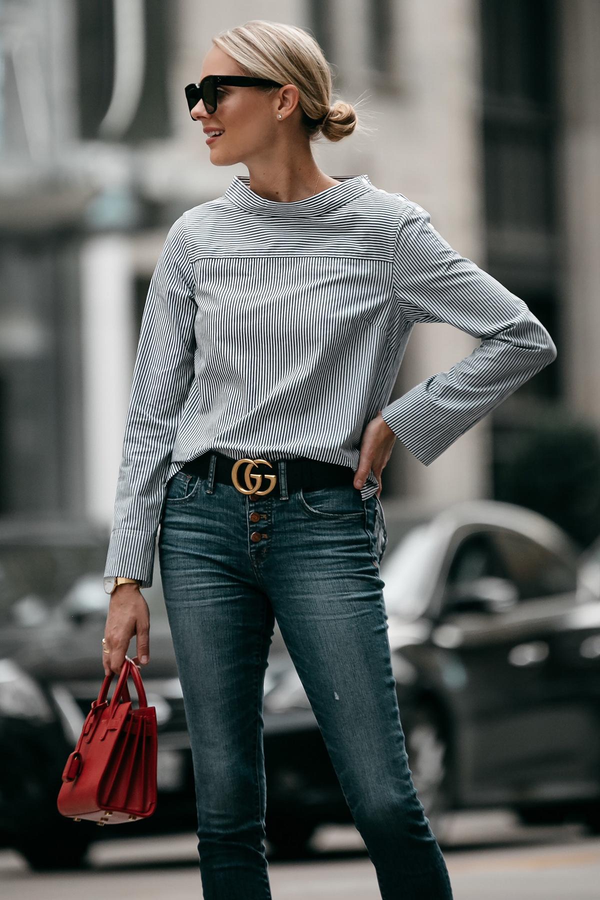 Blonde Woman Wearing Jcrew Grey Striped Shirt Denim Skinny Jeans Gucci Belt Saint Laurent Sac De Jour Mini Red Fashion Jackson Dallas Blogger Fashion Blogger Street Style