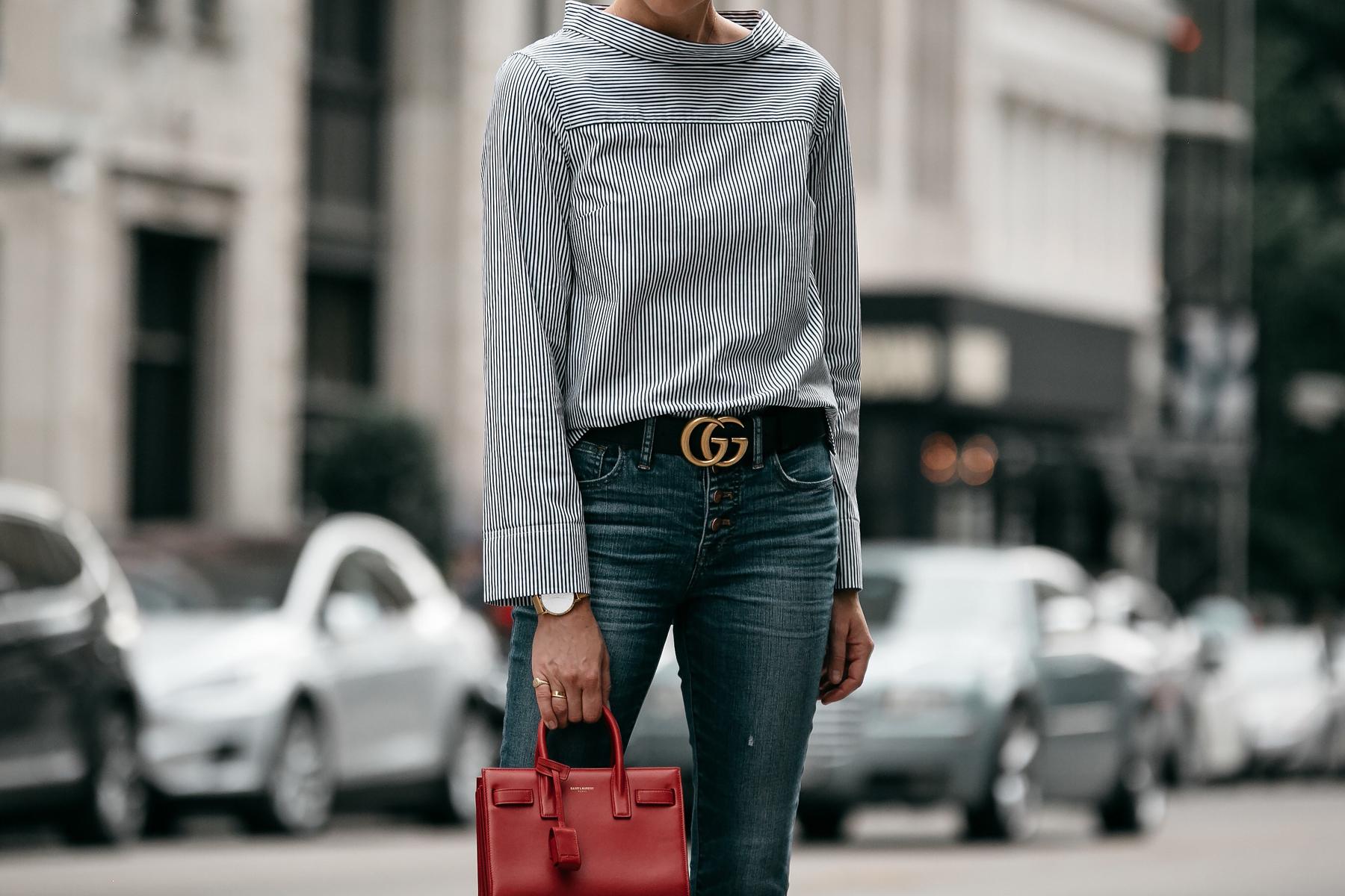 Jcrew Grey Striped Shirt Denim Skinny Jeans Gucci Belt Saint Laurent Sac De Jour Mini Red Fashion Jackson Dallas Blogger Fashion Blogger Street Style