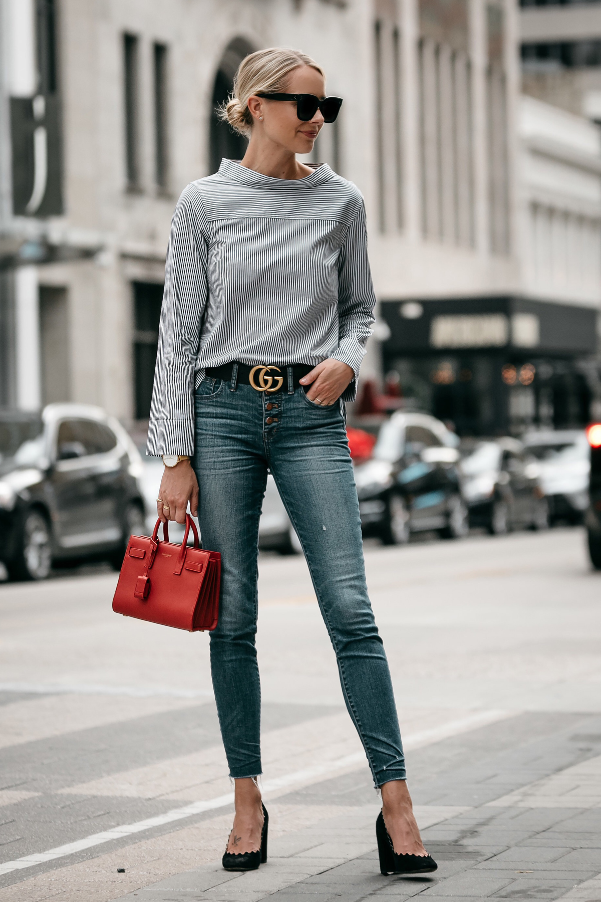 Blonde Woman Wearing Jcrew Grey Striped Shirt Denim Skinny Jeans Gucci Belt Saint Laurent Sac De Jour Mini Red Chloe Scalloped Pumps Fashion Jackson Dallas Blogger Fashion Blogger Street Style