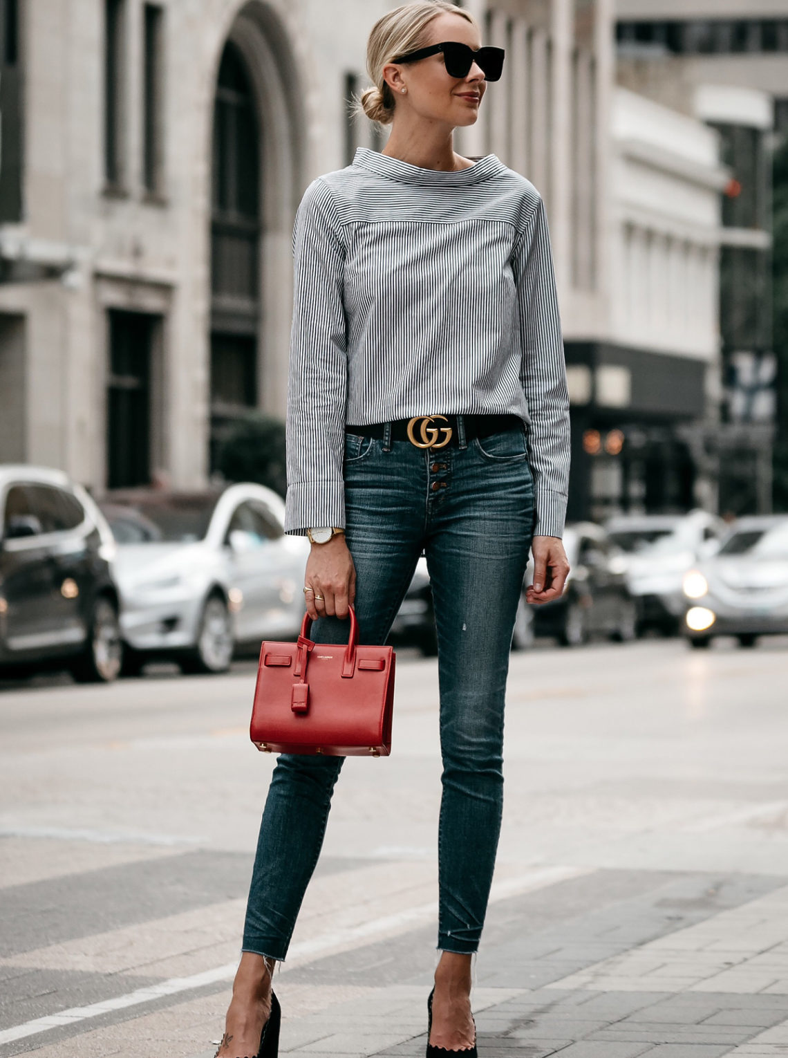 Blonde Woman Wearing Jcrew Grey Striped Shirt Denim Skinny Jeans Gucci Belt Saint Laurent Sac De Jour Mini Red Chloe Scalloped Pumps Fashion Jackson Dallas Blogger Fashion Blogger Street Style