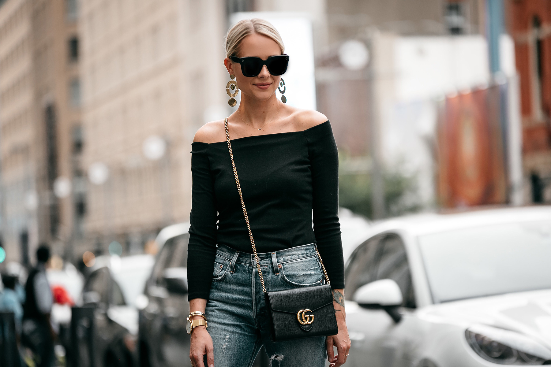 Blonde Woman Wearing Jcrew black off the shoulder top Levis Denim Ripped Jeans Gucci Marmont Handbag Fashion Jackson Dallas Blogger Fashion Blogger Street Style
