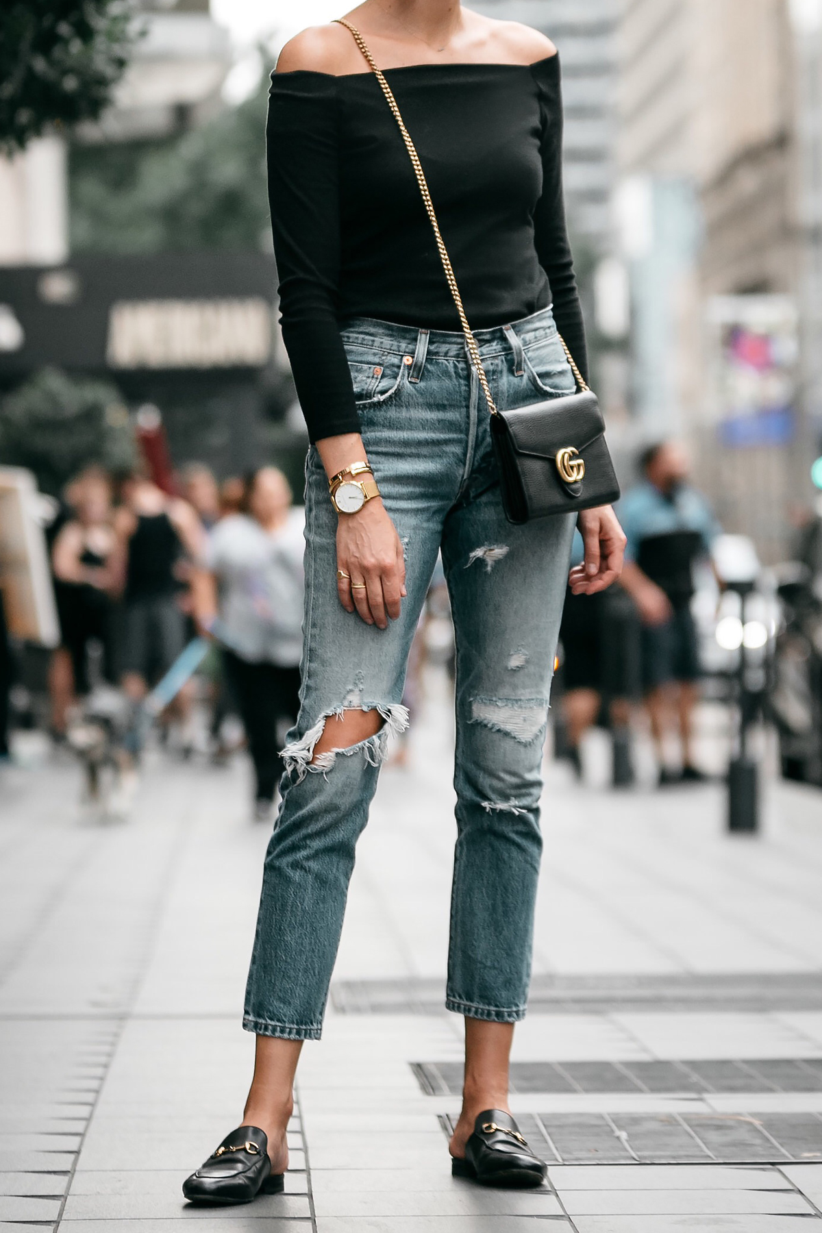 Jcrew black off the shoulder top Levis Denim Ripped Jeans Gucci Marmont Handbag Gucci Princetown Loafer Mules Fashion Jackson Dallas Blogger Fashion Blogger Street Style