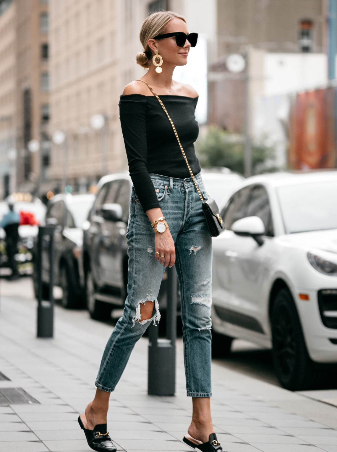Blonde Woman Wearing Jcrew black off the shoulder top Levis Denim Ripped Jeans Gucci Marmont Handbag Gucci Princetown Loafer Mules Fashion Jackson Dallas Blogger Fashion Blogger Street Style