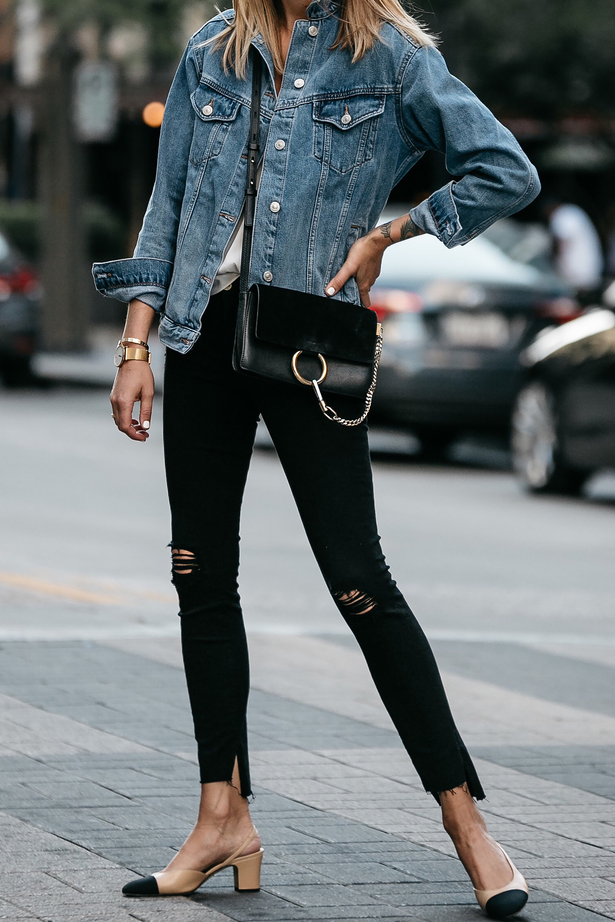 Topshop Denim Jacket Chloe Faye Handbag Frame Black Ripped Skinny Jeans Chanel Slingbacks Fashion Jackson Dallas Blogger Fashion Blogger Street Style