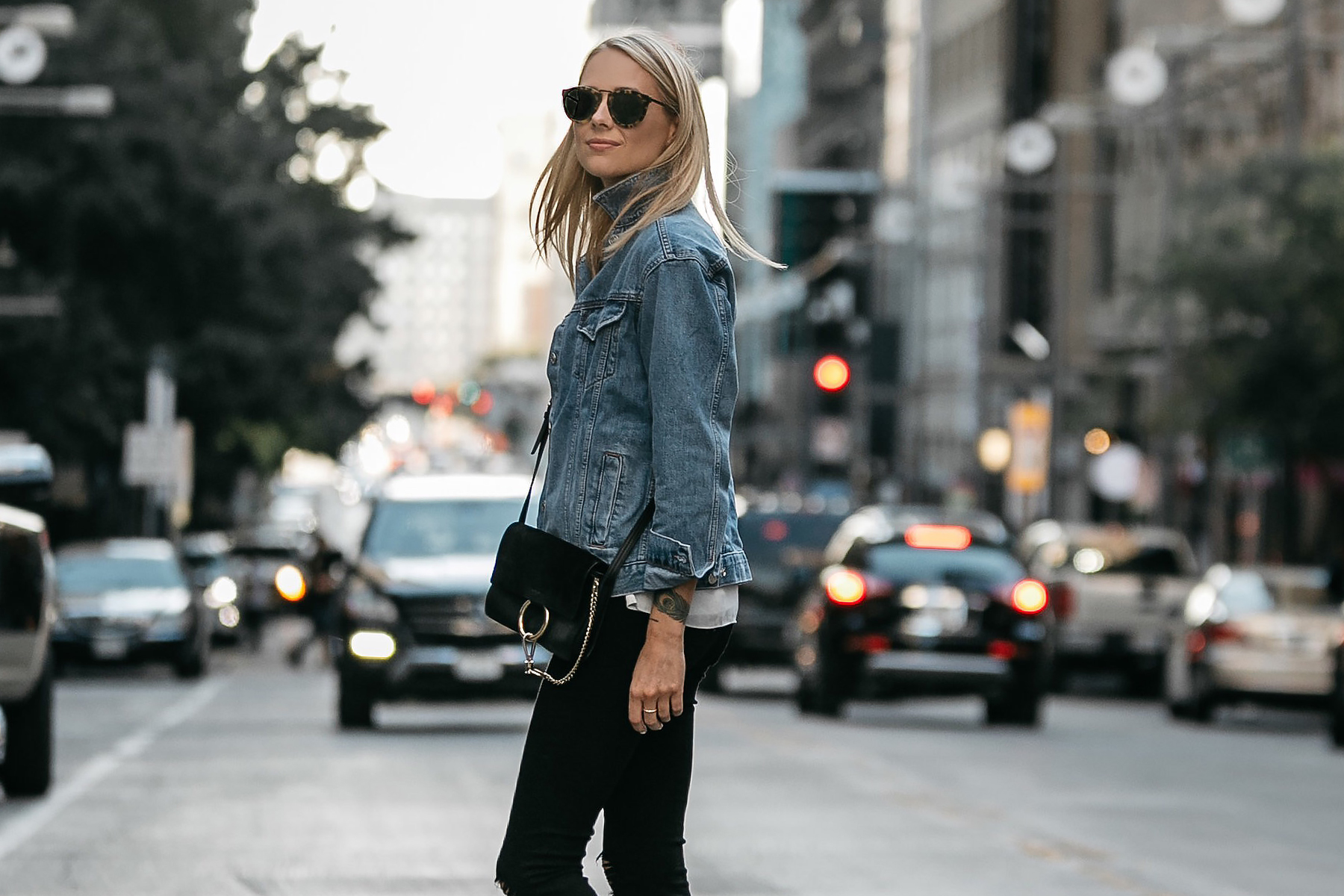 Blonde Woman Wearing Topshop Denim Jacket Chloe Faye Handbag Fashion Jackson Dallas Blogger Fashion Blogger Street Style