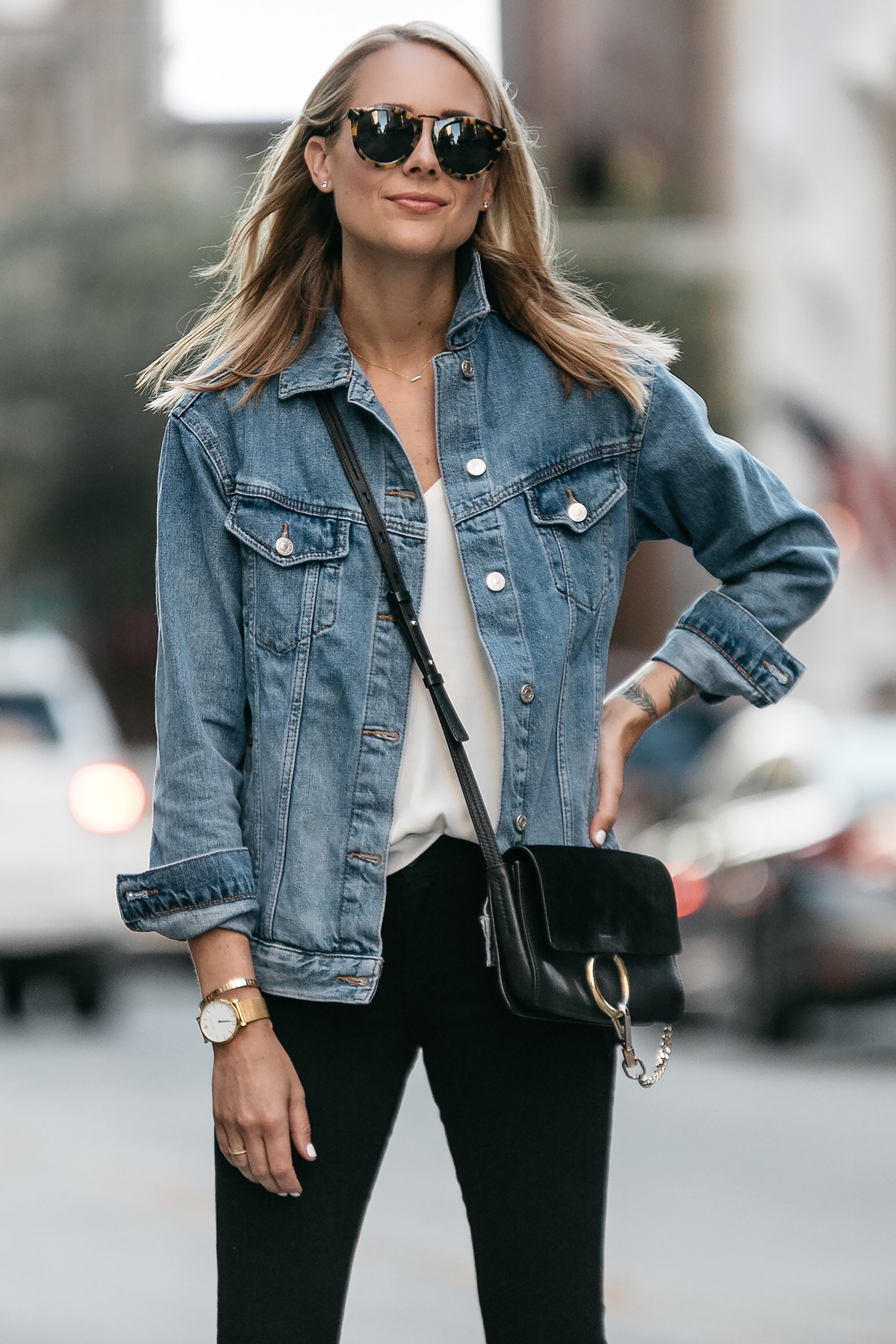 Blonde Woman Wearing Topshop Oversized Denim Jacket Chloe Faye Handbag Fashion Jackson Dallas Blogger Fashion Blogger Street Style