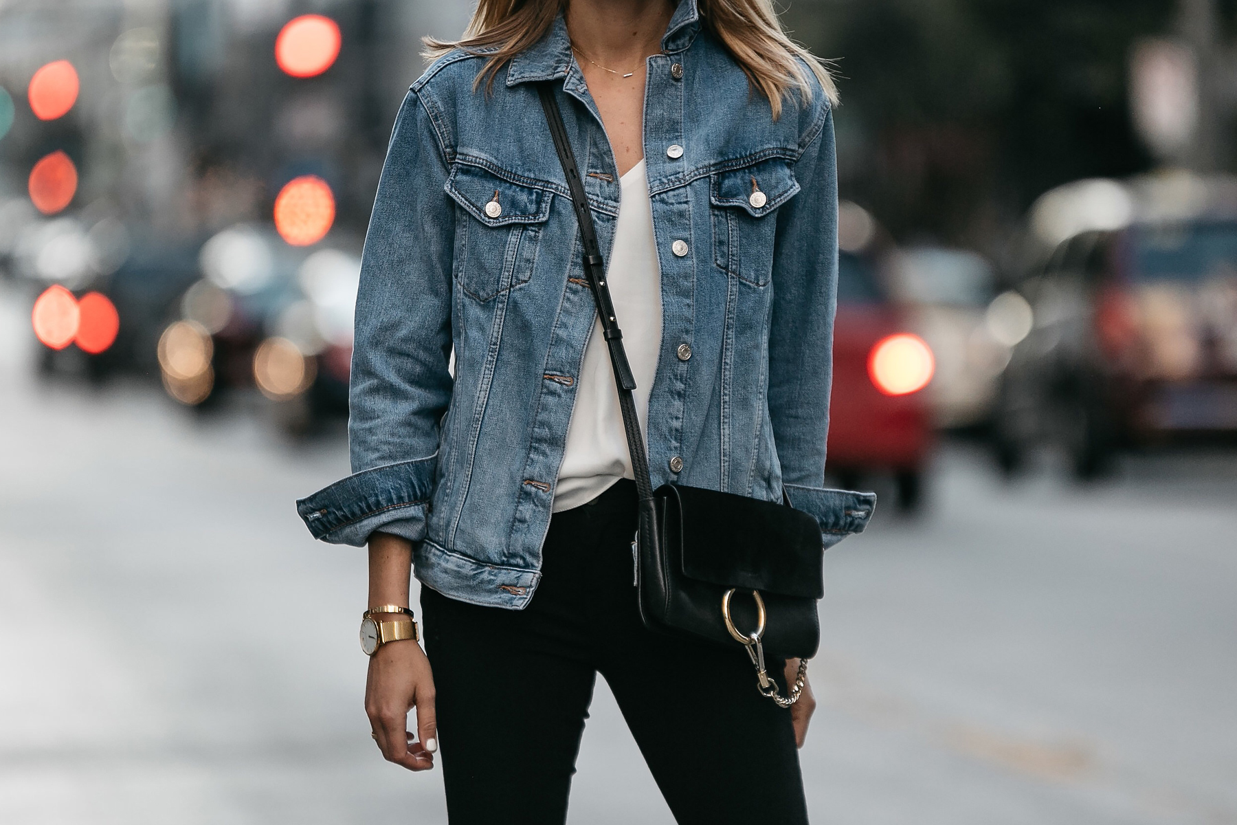 Topshop Oversized Denim Jacket Chloe Faye Handbag Fashion Jackson Dallas Blogger Fashion Blogger Street Style